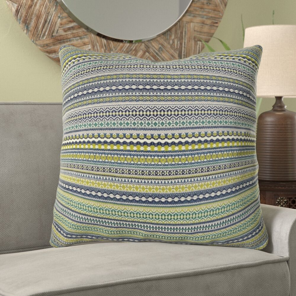 Lemuel Stripe Chartreuse Pillow Fill Material: 95/5 Feather/Down, Size: 22