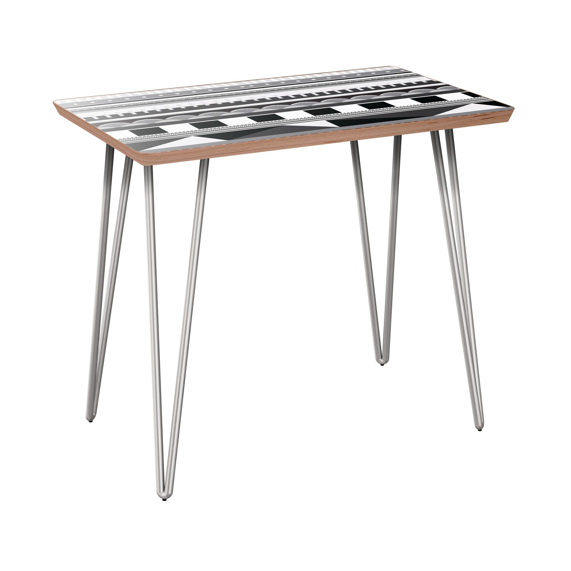 Horatio End Table Table Top Color: Walnut, Table Base Color: Chrome