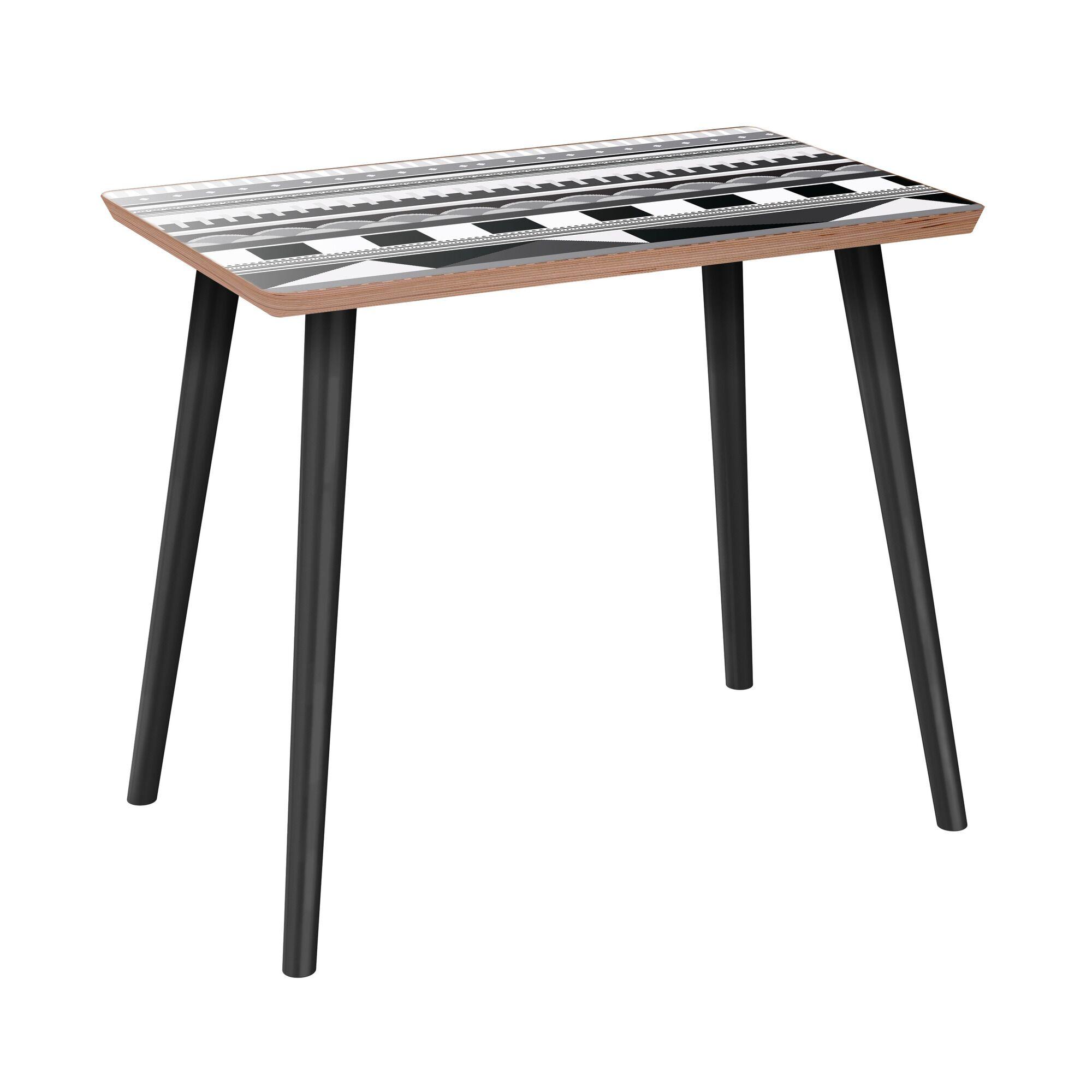 Hornback End Table Table Base Color: Black, Table Top Color: Walnut