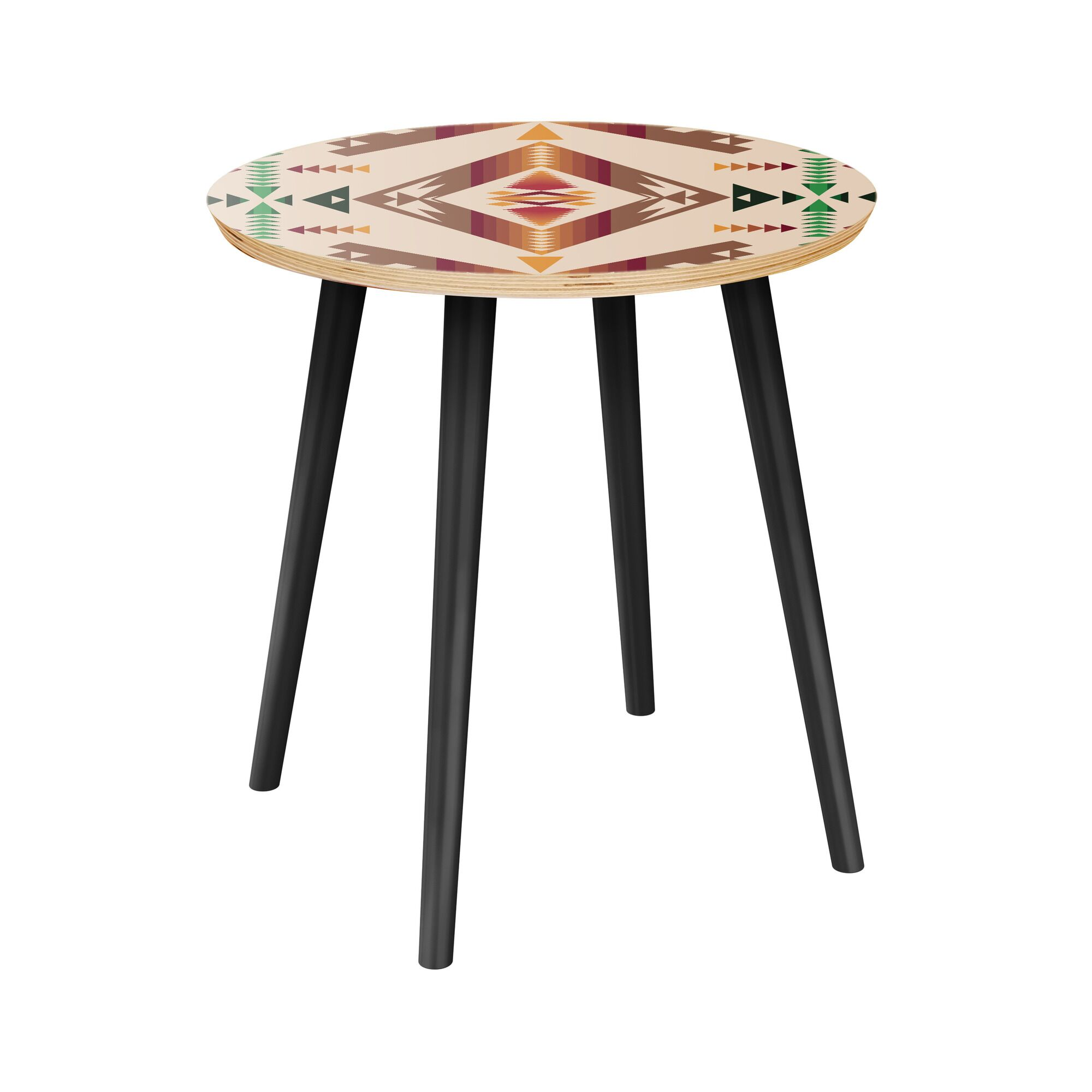 Aranha End Table Table Top Color: Natural, Table Base Color: Black