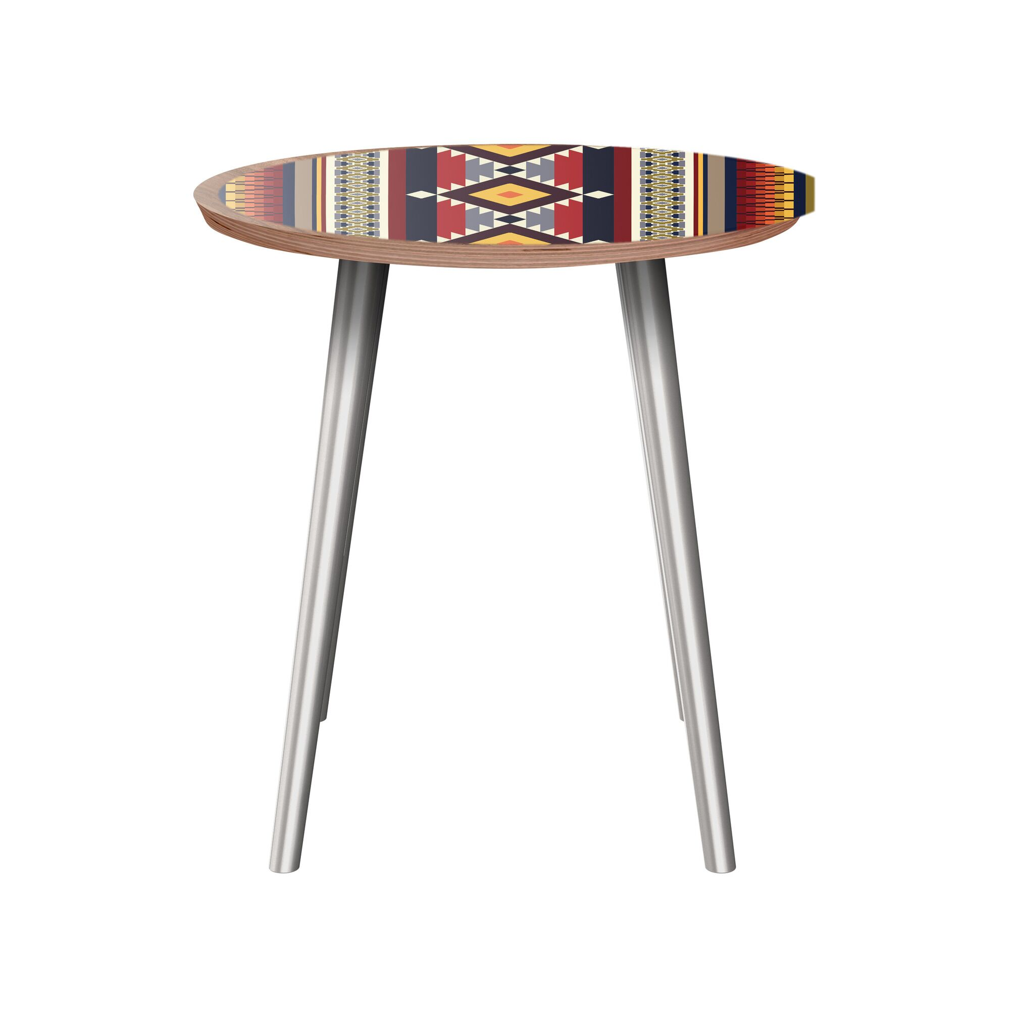 Kristan End Table Table Base Color: Chrome, Table Top Color: Walnut