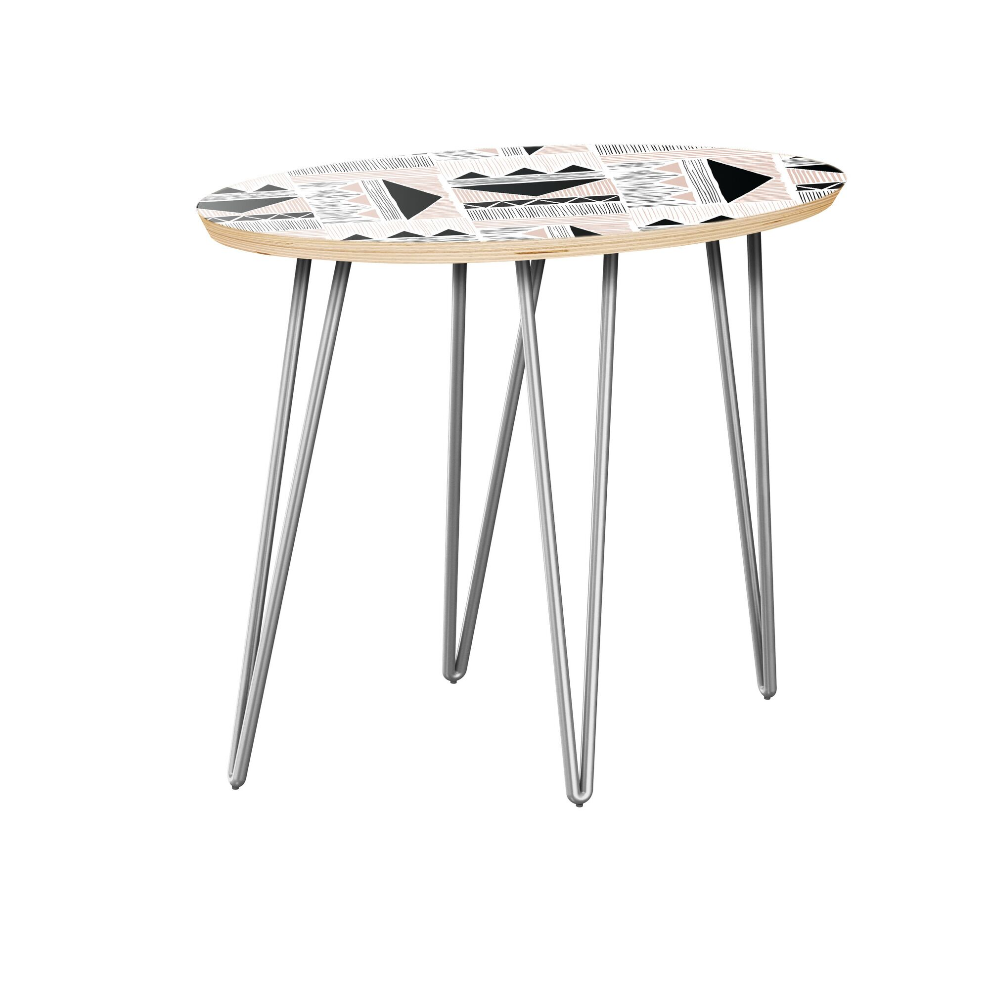 Howerton End Table Table Top Color: Natural, Table Base Color: Chrome