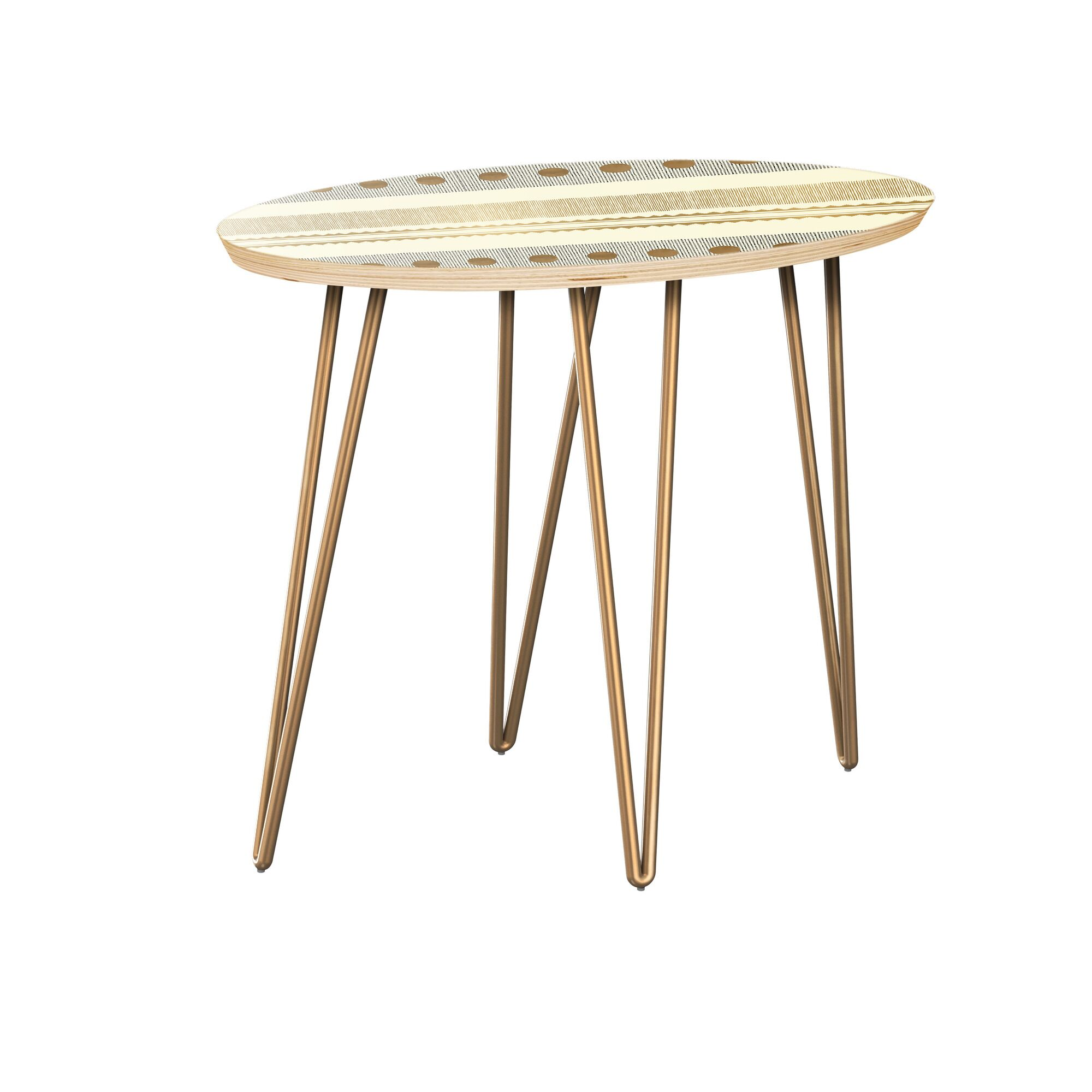 Huntsberry End Table Table Top Color: Natural, Table Base Color: Brass
