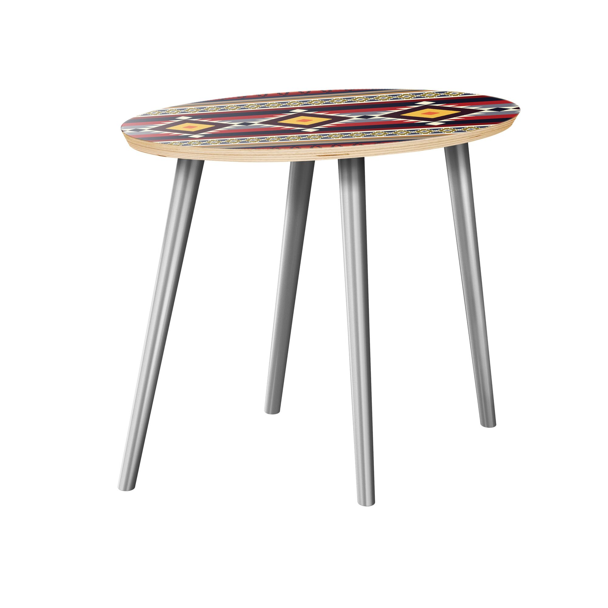 Jermaine End Table Table Top Color: Natural, Table Base Color: Chrome