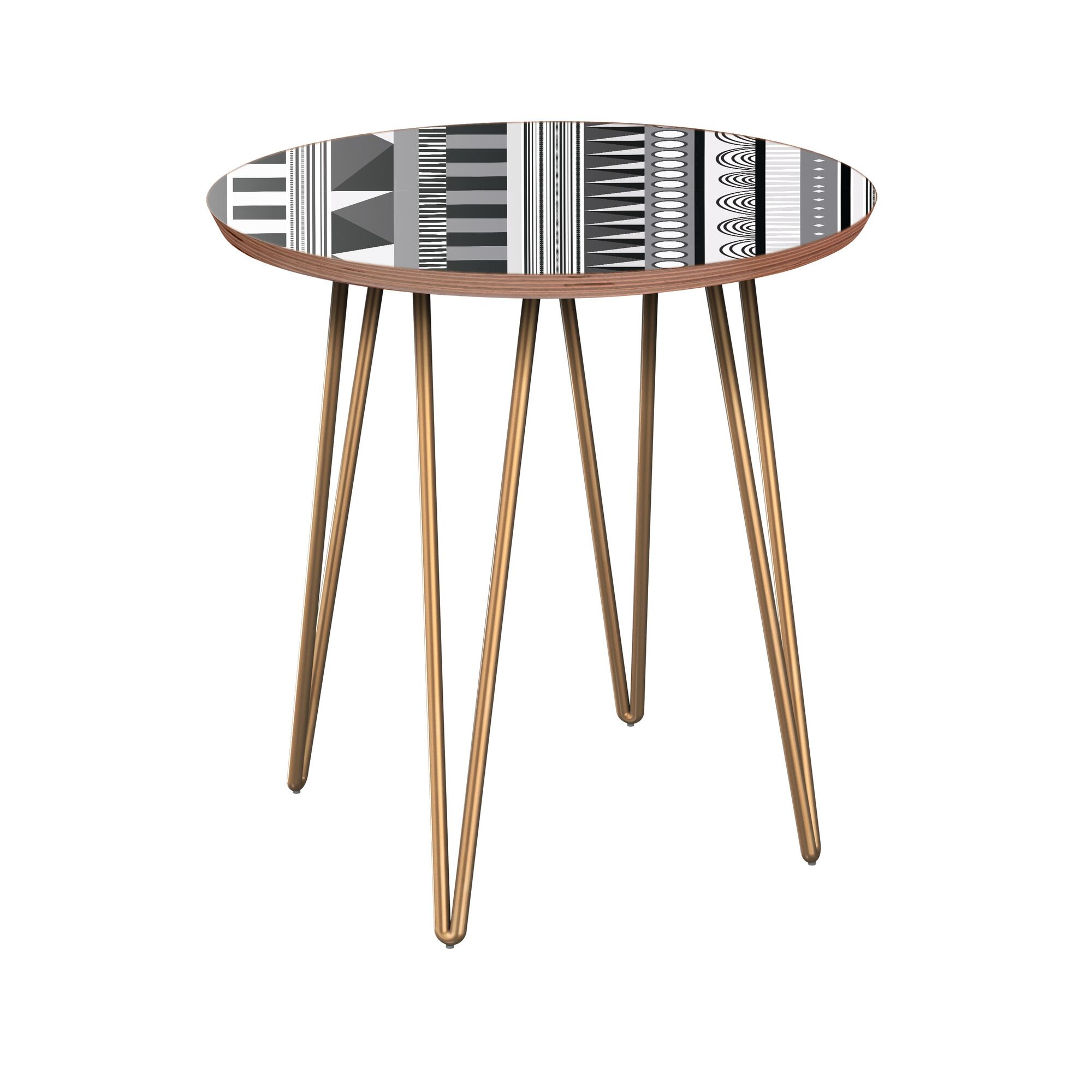 Hoopes End Table Table Base Color: Brass, Table Top Color: Walnut