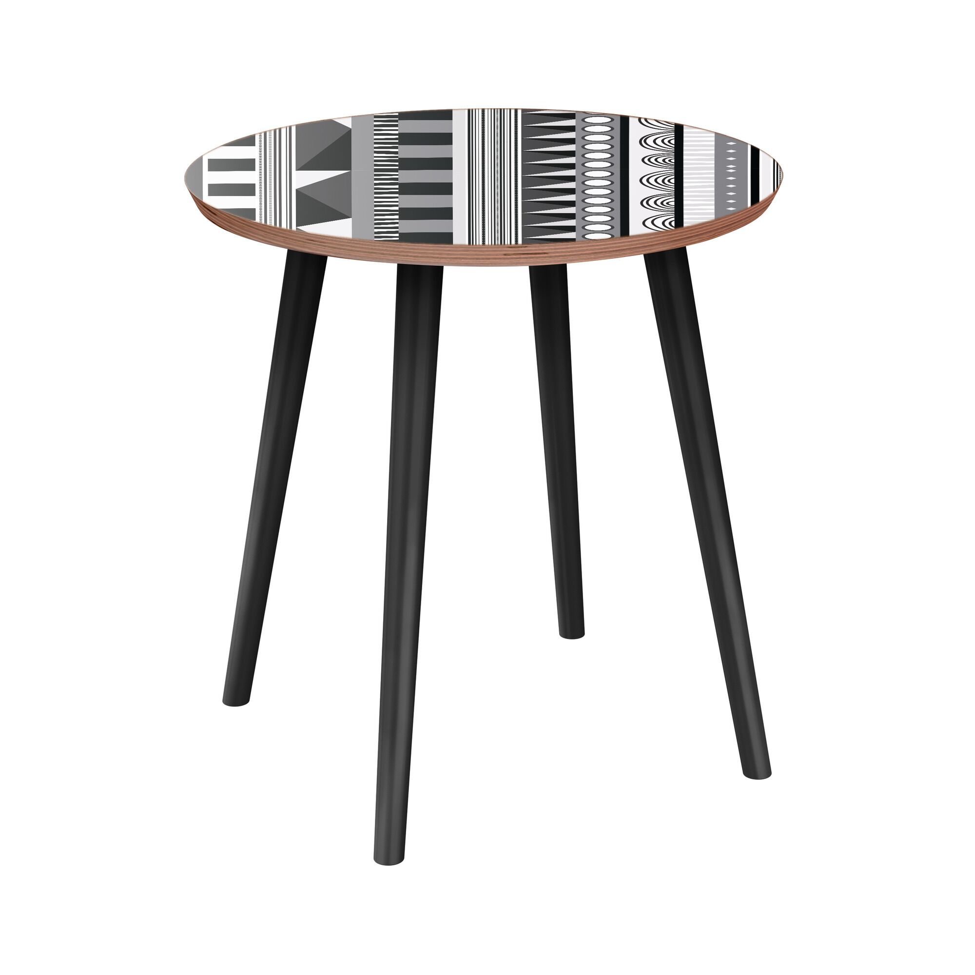 Hopson End Table Table Base Color: Black, Table Top Color: Walnut