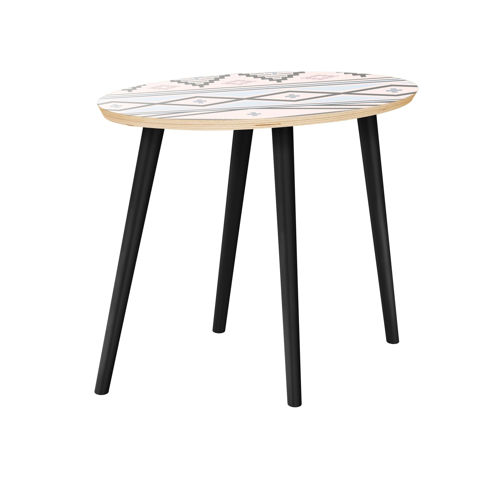 Holdsworth End Table Table Top Boarder Color: Natural, Table Base Color: Black, Table Top Color: Red
