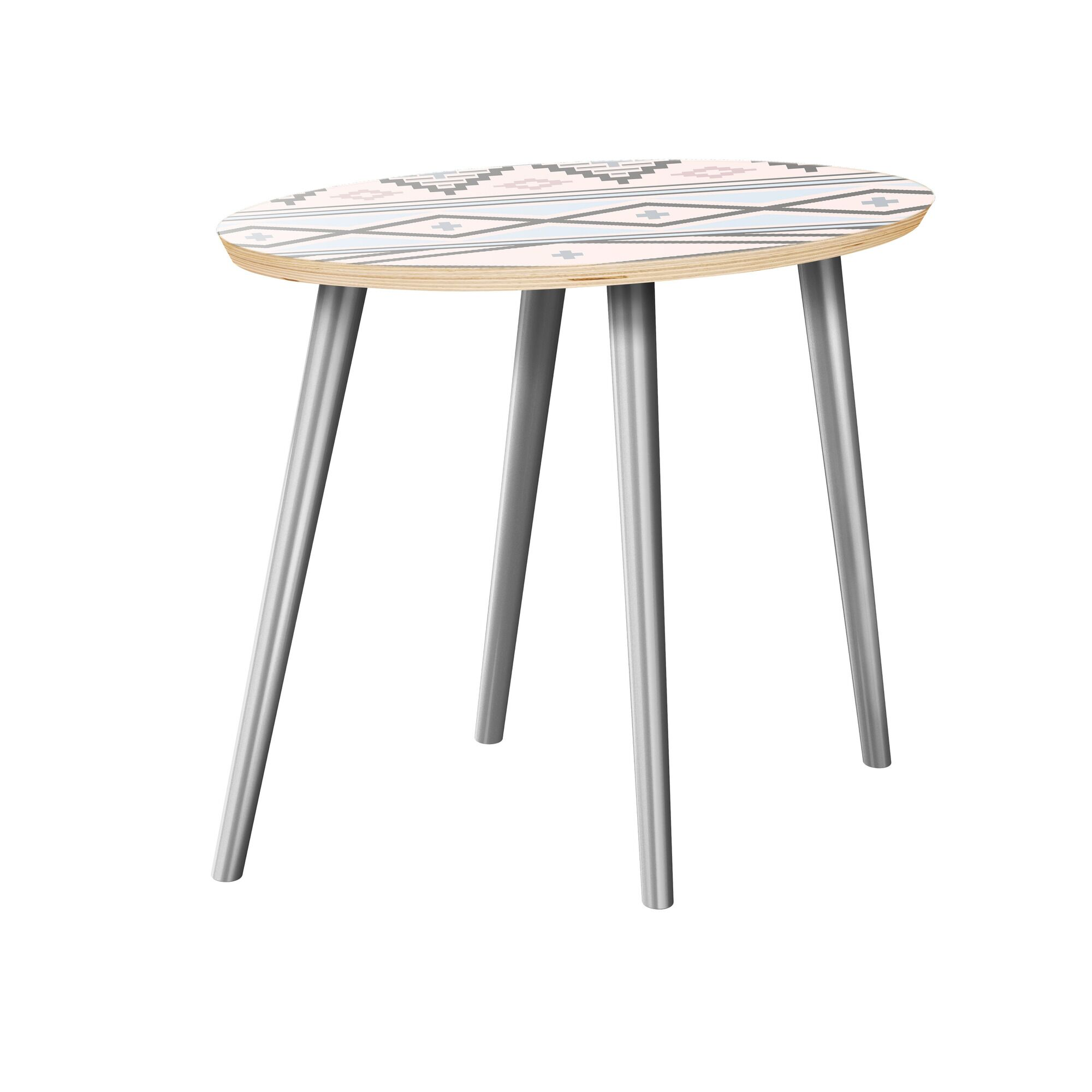 Holdsworth End Table Table Top Boarder Color: Natural, Table Base Color: Chrome, Table Top Color: Pink/Blue