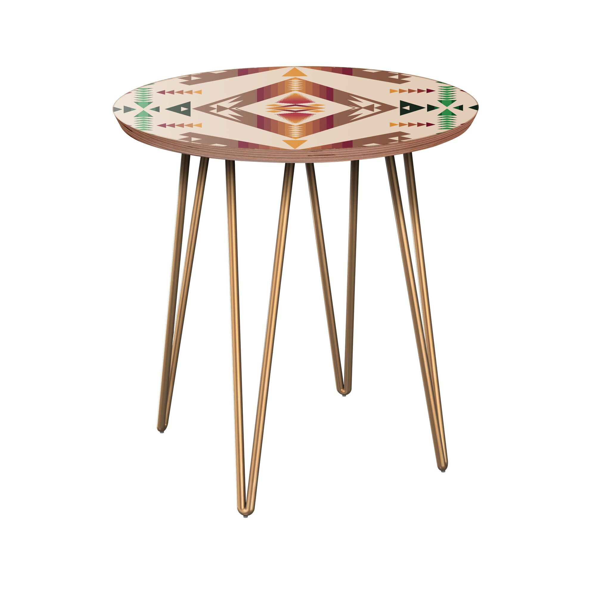 Arana End Table Table Base Color: Brass, Table Top Color: Walnut