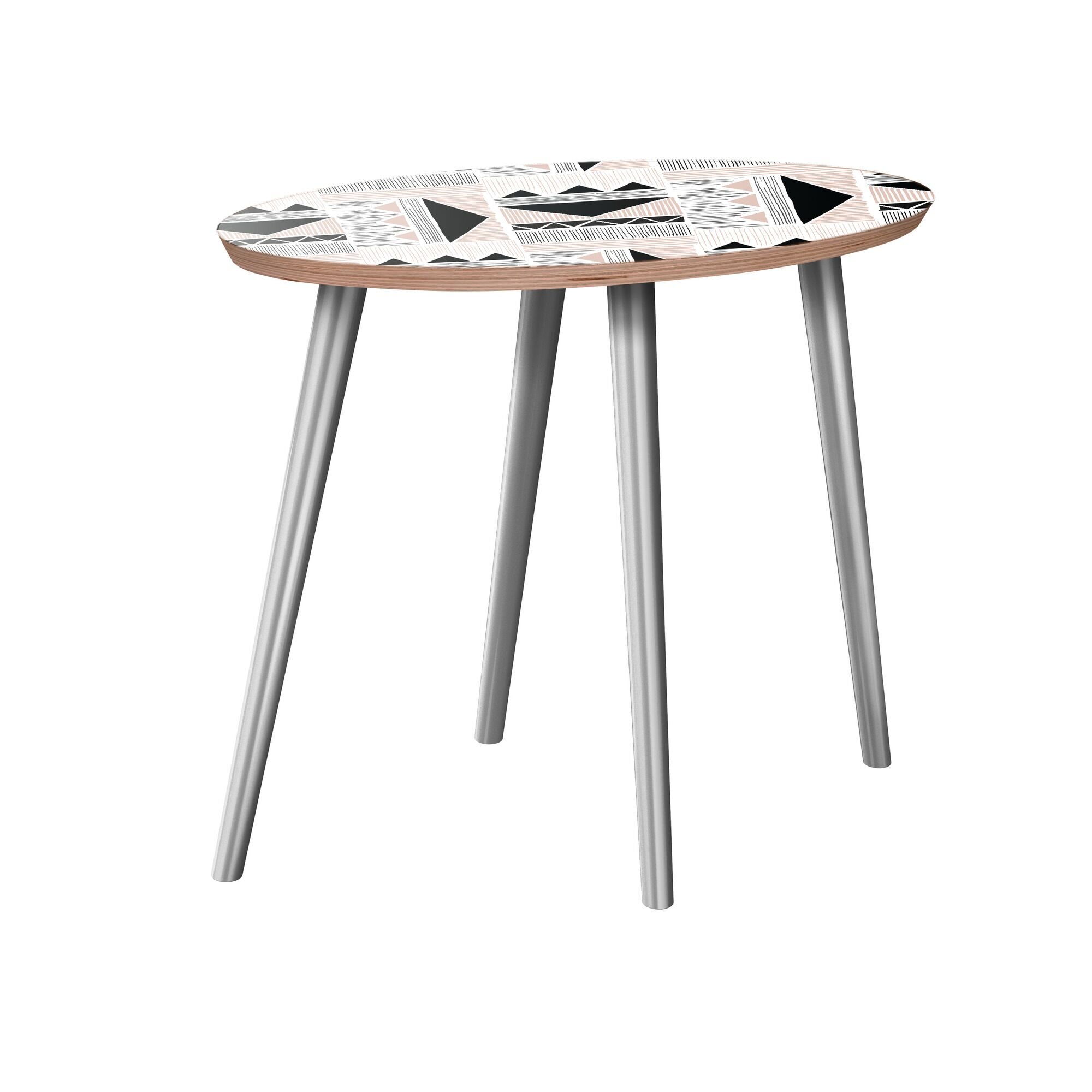 Howery End Table Table Base Color: Chrome, Table Top Color: Walnut
