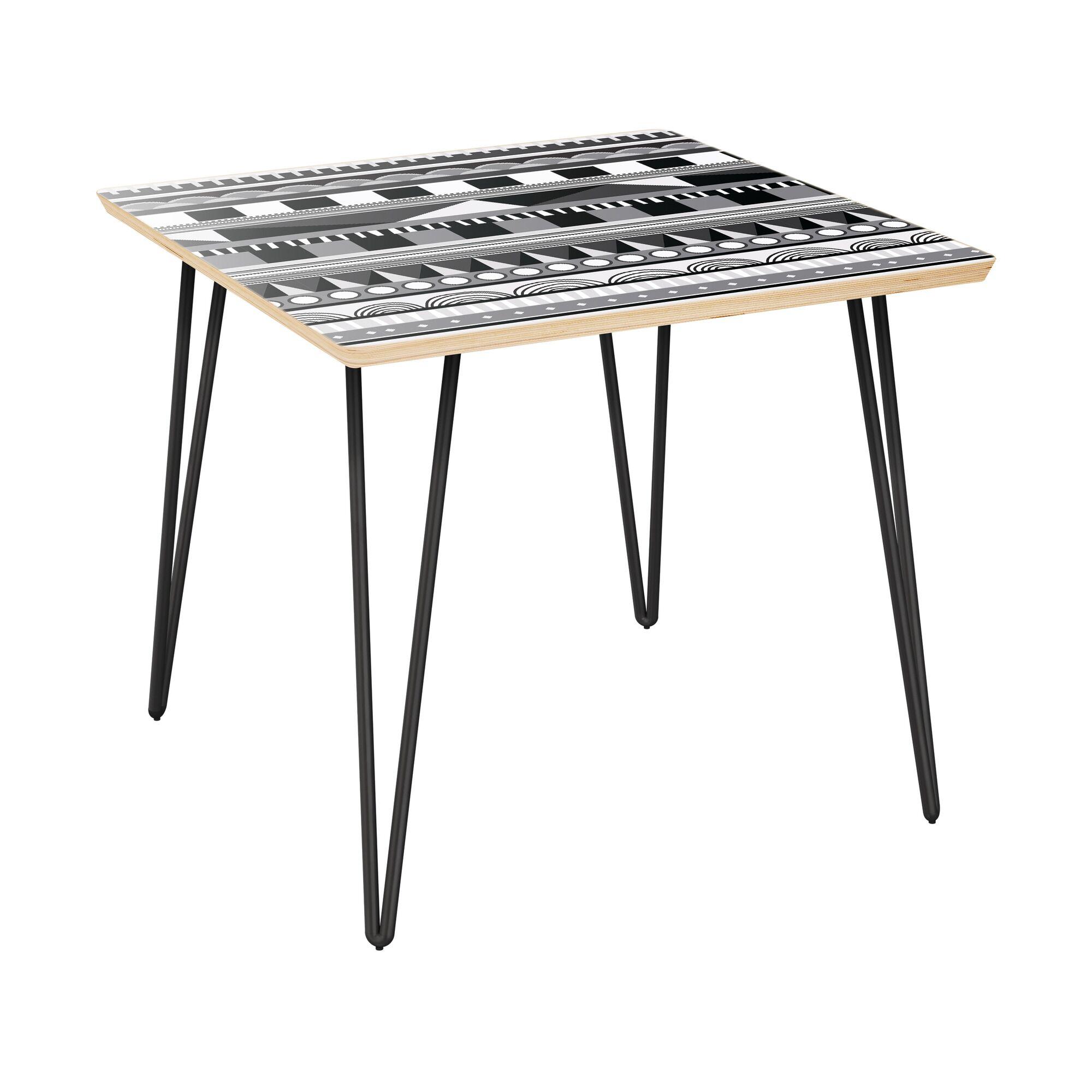 Hunsberger End Table Table Top Color: Natural, Table Base Color: Black