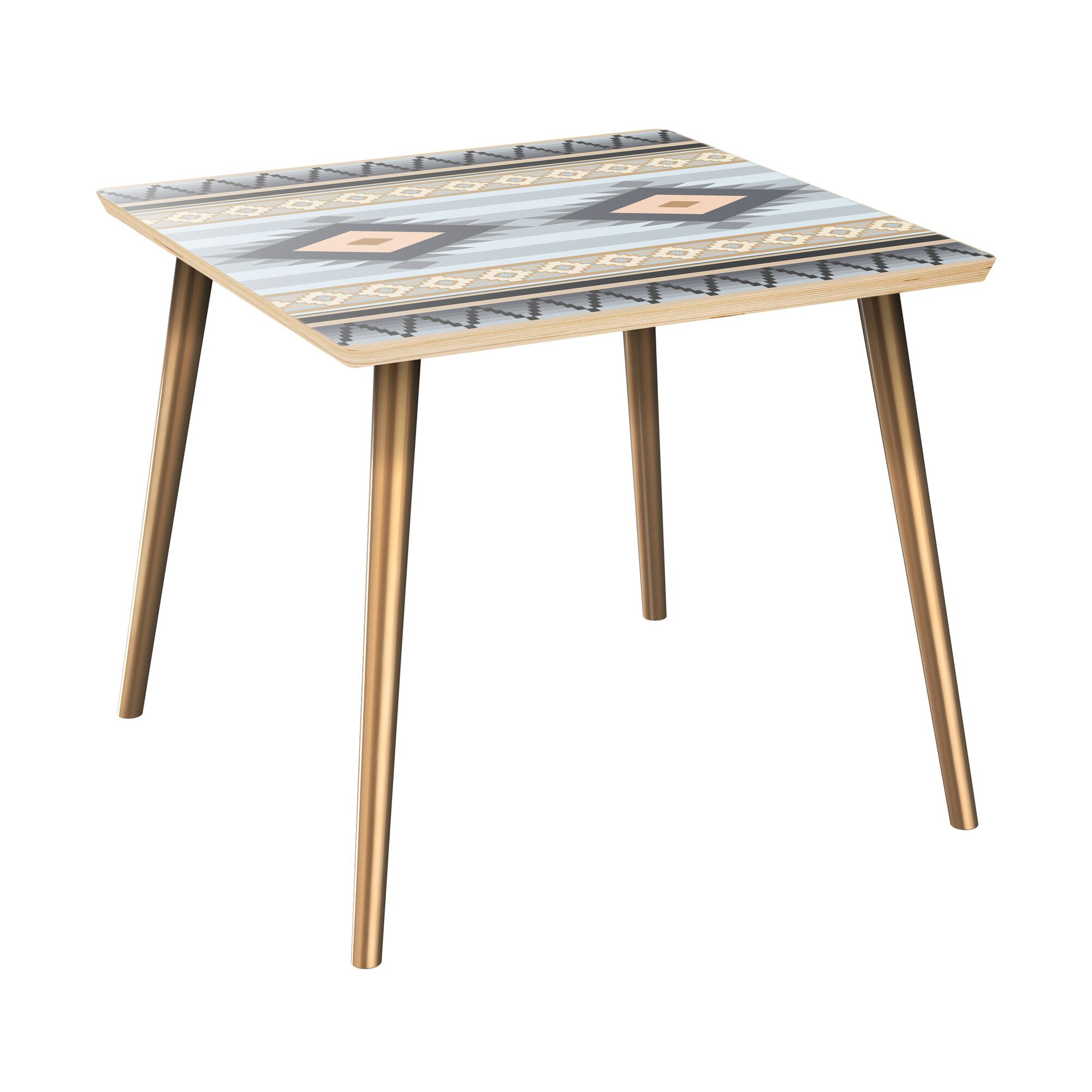 Huneycutt End Table Table Top Color: Natural, Table Base Color: Brass