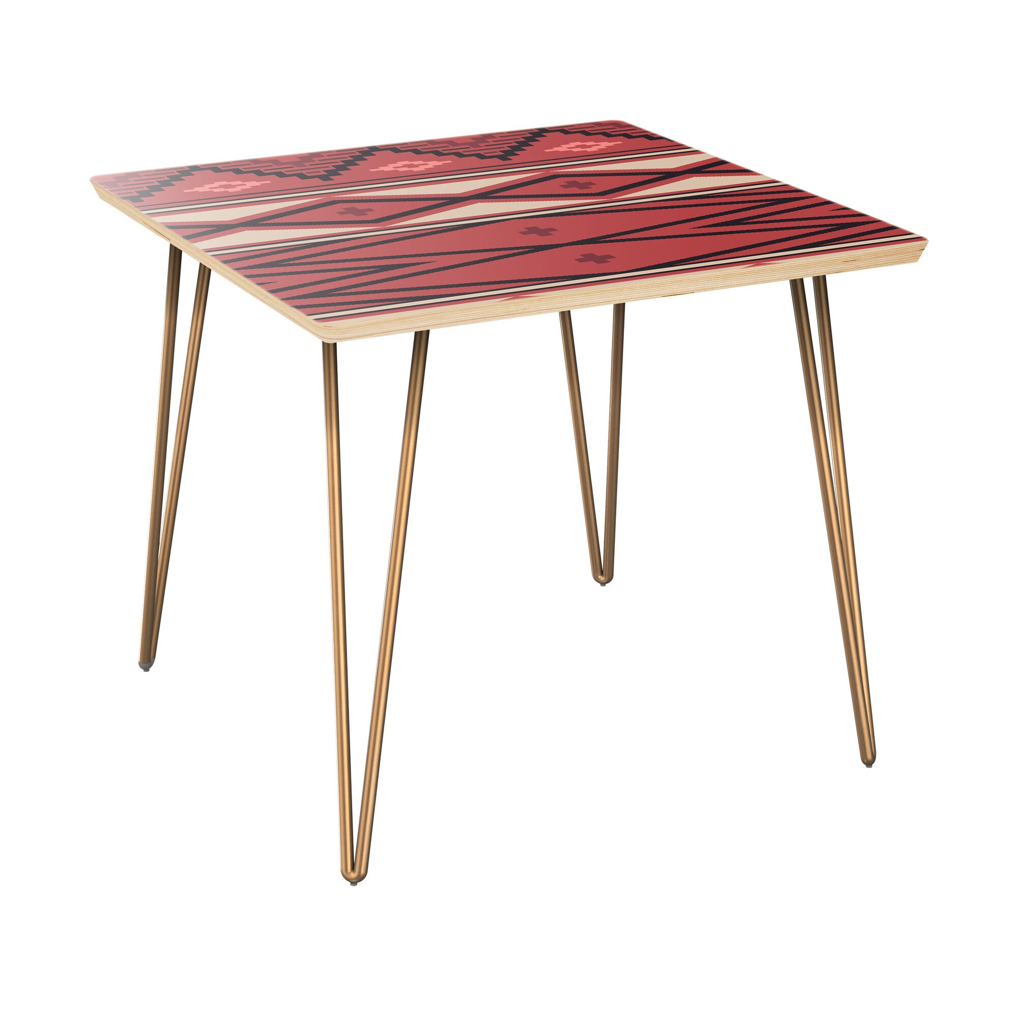 Hulbert End Table Table Top Boarder Color: Natural, Table Base Color: Brass, Table Top Color: Pink/Blue