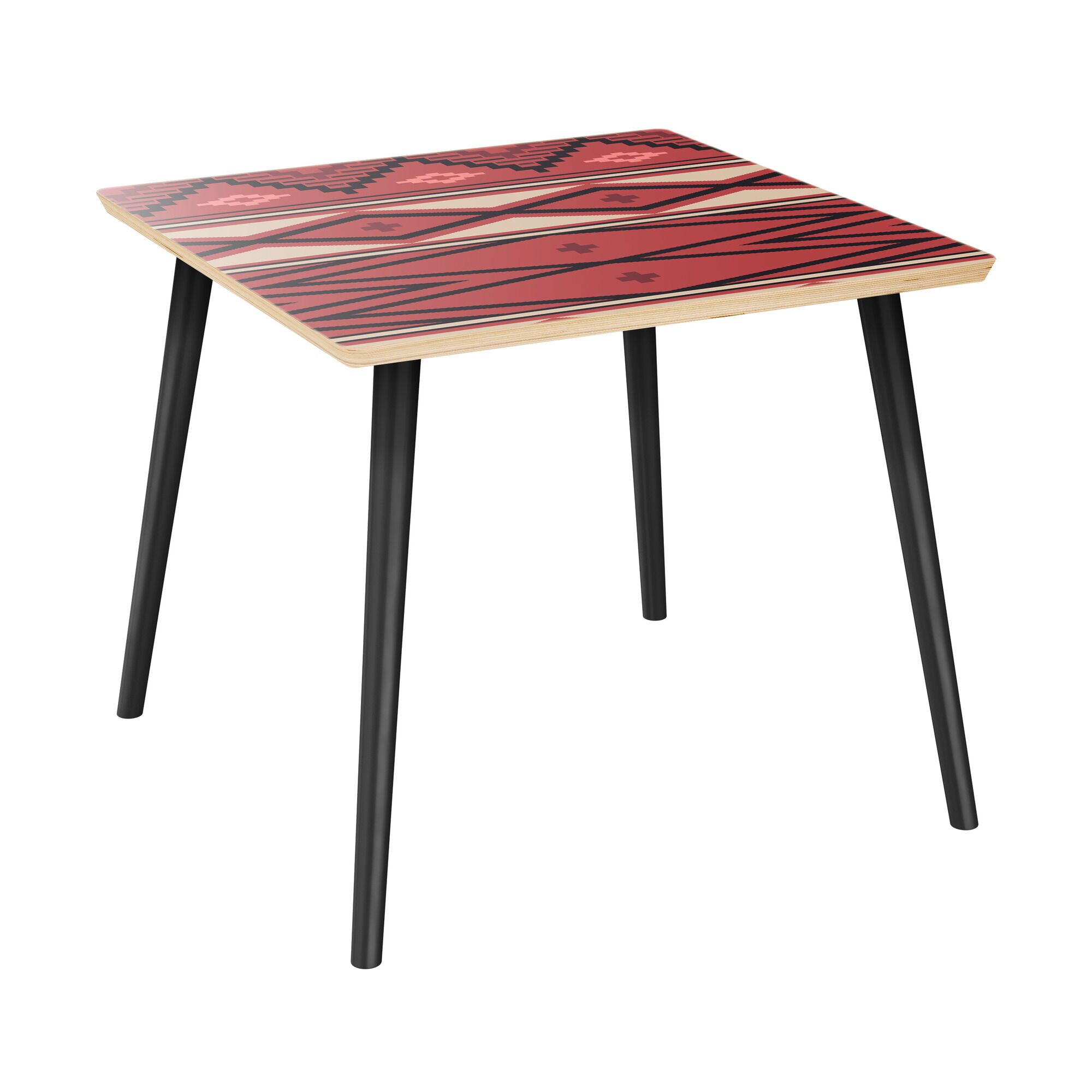 Houtz End Table Table Top Boarder Color: Natural, Table Base Color: Black, Table Top Color: Red