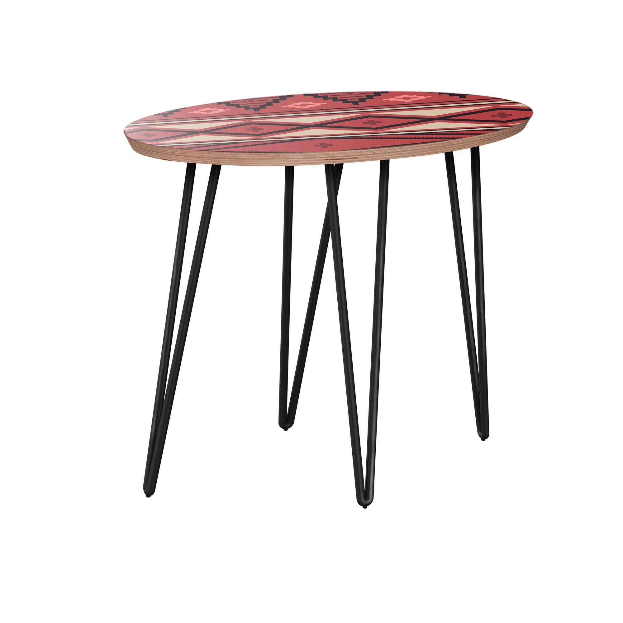 Holderman End Table Table Base Color: Black, Table Top Boarder Color: Walnut, Table Top Color: Red