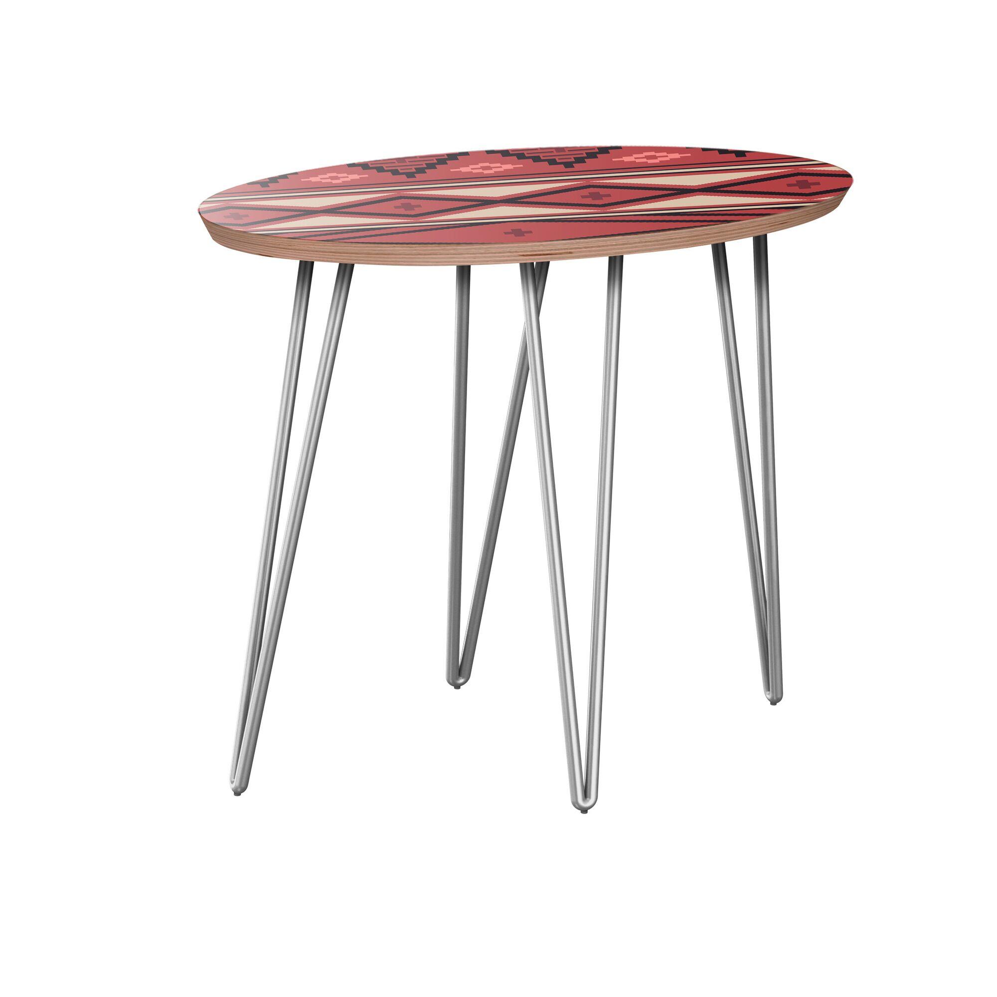 Holderman End Table Table Base Color: Chrome, Table Top Boarder Color: Walnut, Table Top Color: Red