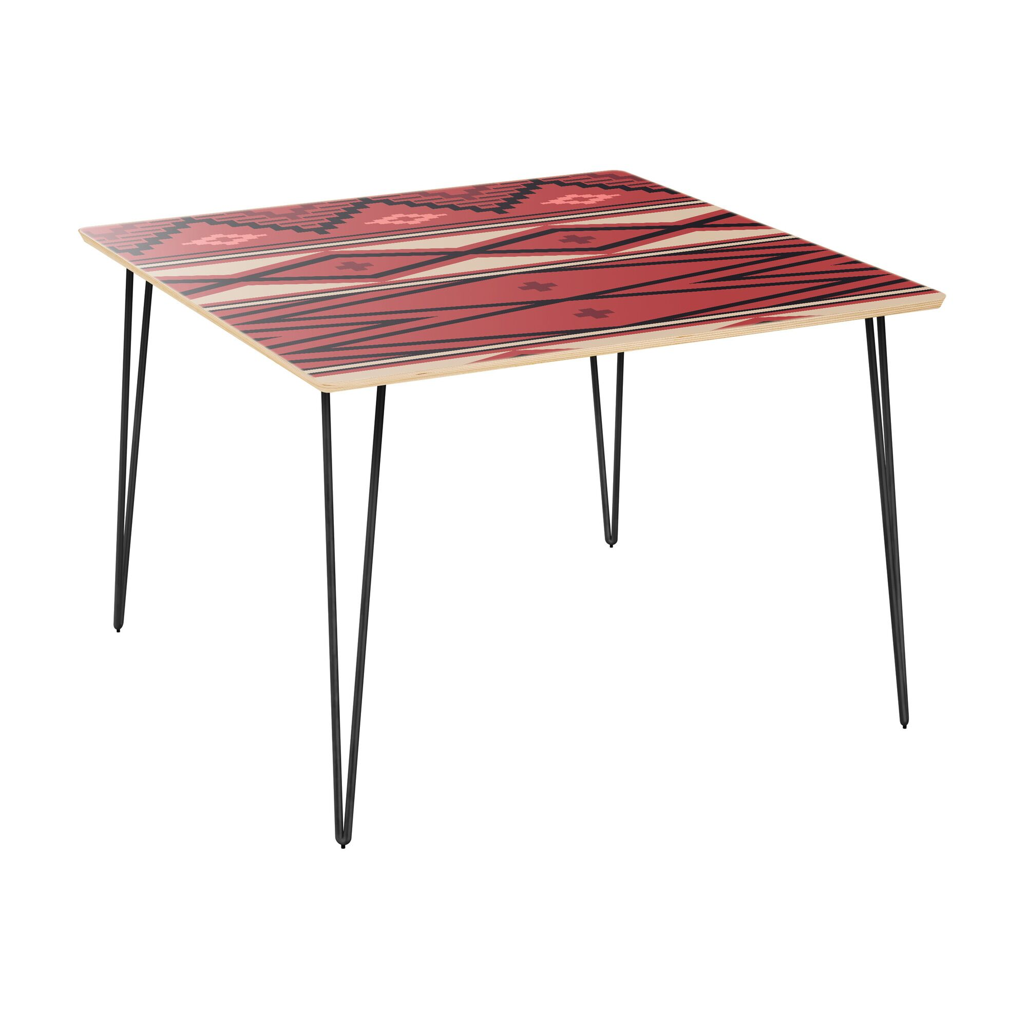 Hummer Dining Table Table Top Boarder Color: Natural, Table Base Color: Black, Table Top Color: Pink/Blue