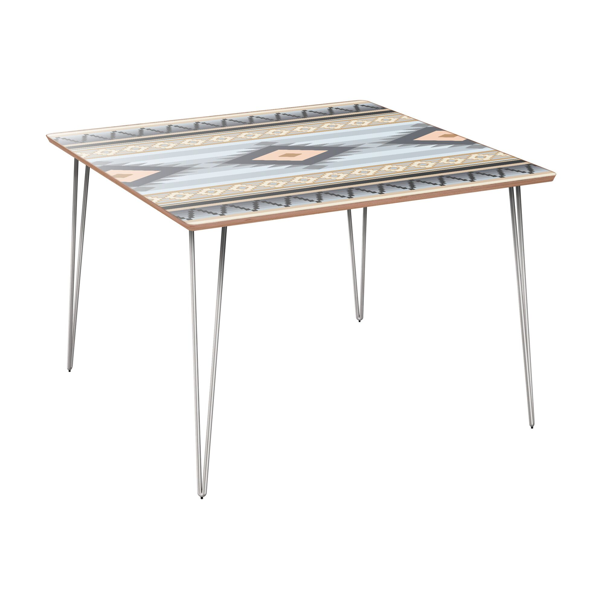 Camargo Dining Table Table Base Color: Chrome, Table Top Color: Walnut