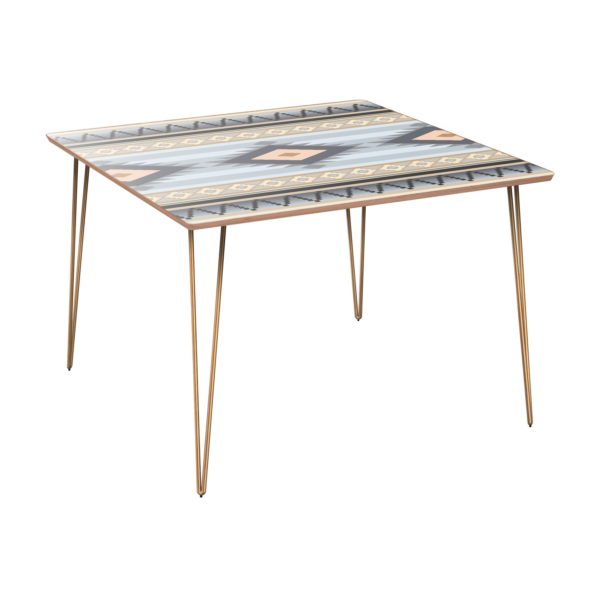 Camargo Dining Table Table Base Color: Brass, Table Top Color: Walnut