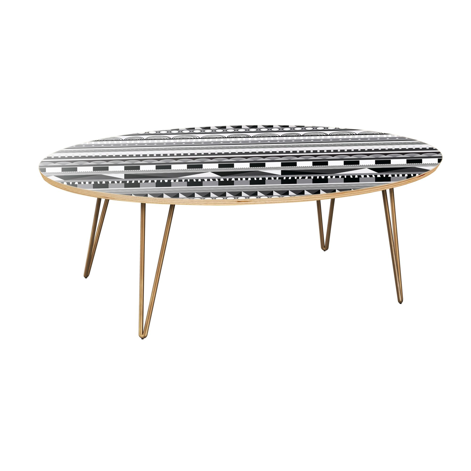 Jodie Coffee Table Table Top Color: Natural, Table Base Color: Brass