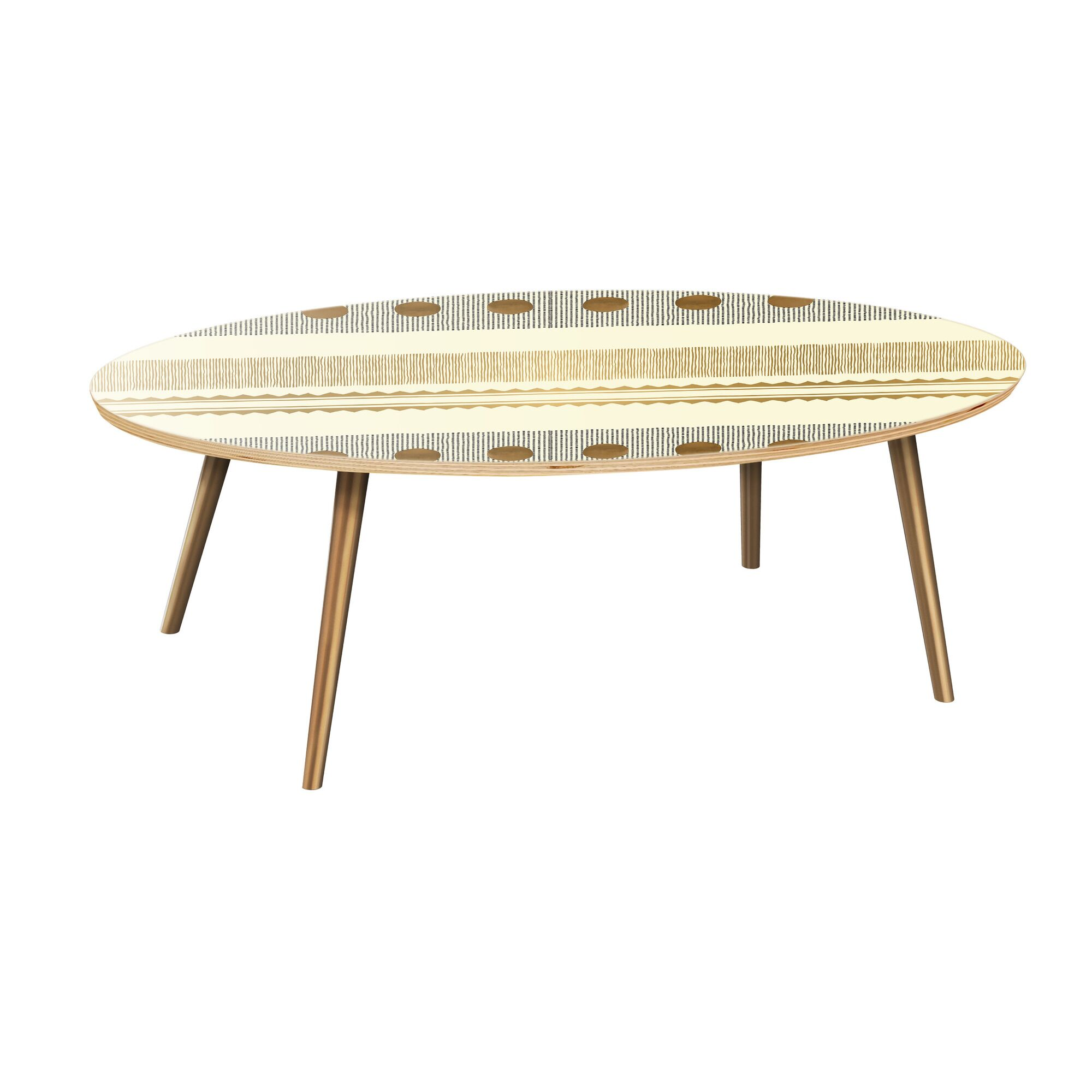 Howle Coffee Table Table Base Color: Brass, Table Top Color: Natural
