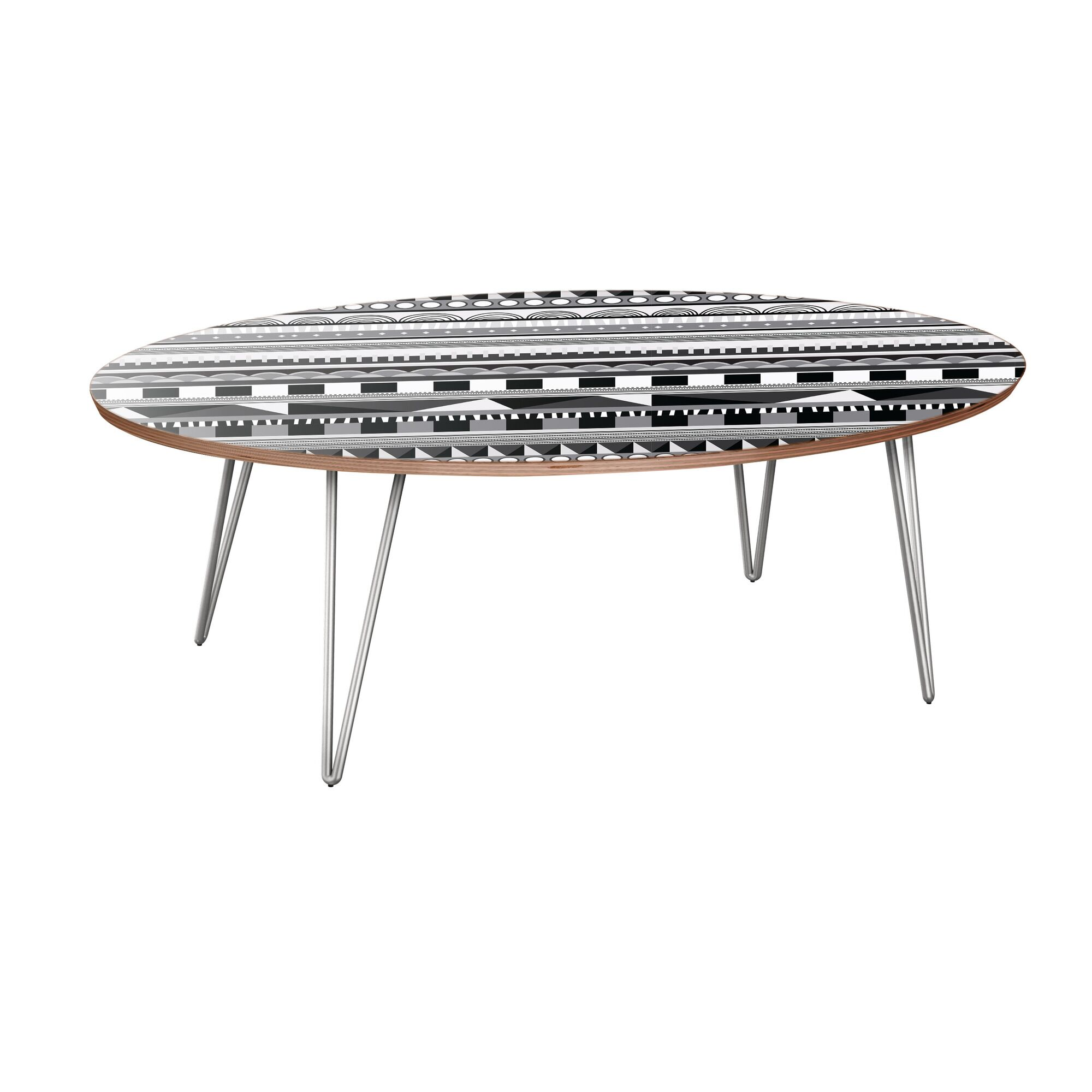 Jodie Coffee Table Table Base Color: Chrome, Table Top Color: Walnut