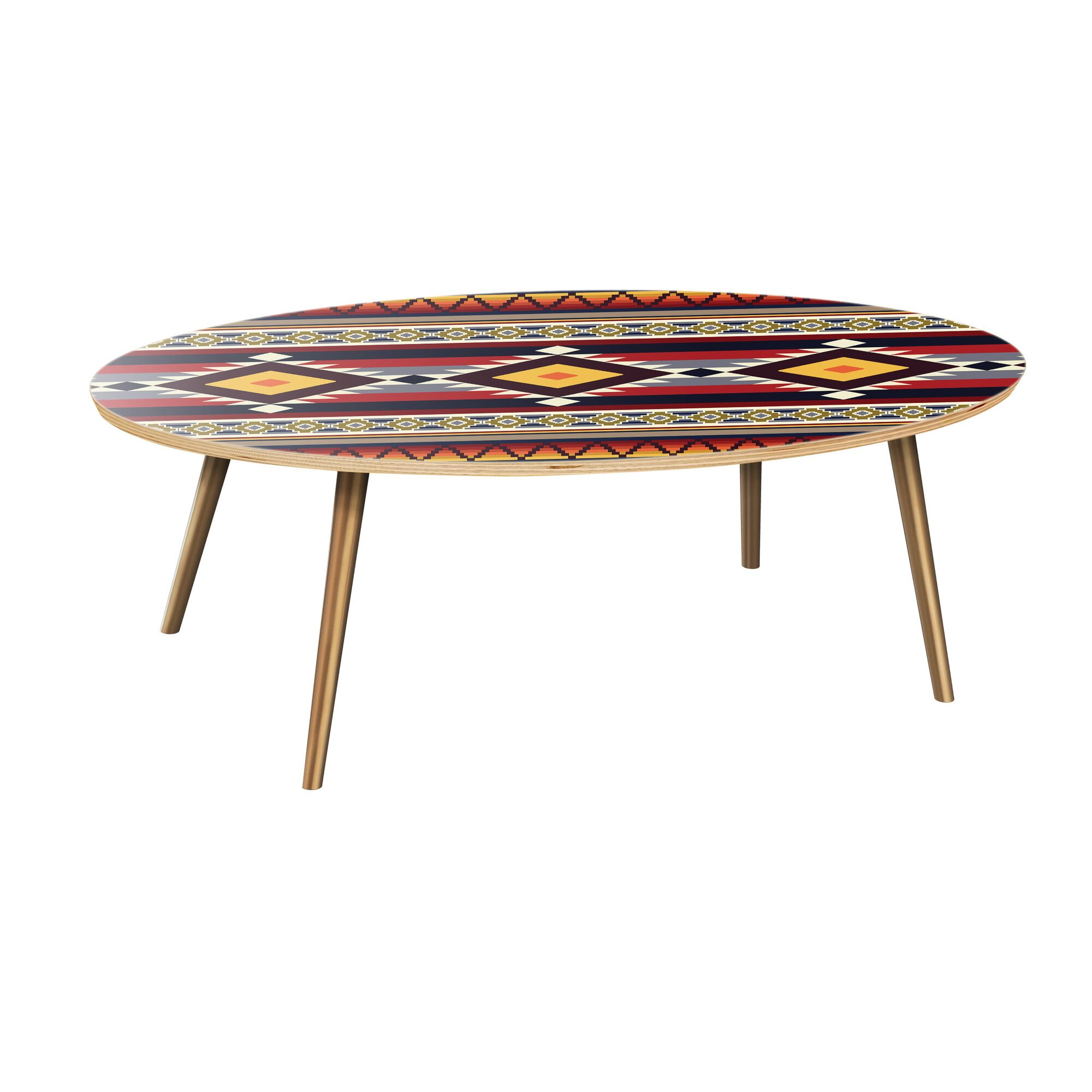 Aranson Coffee Table Table Top Color: Natural, Table Base Color: Brass