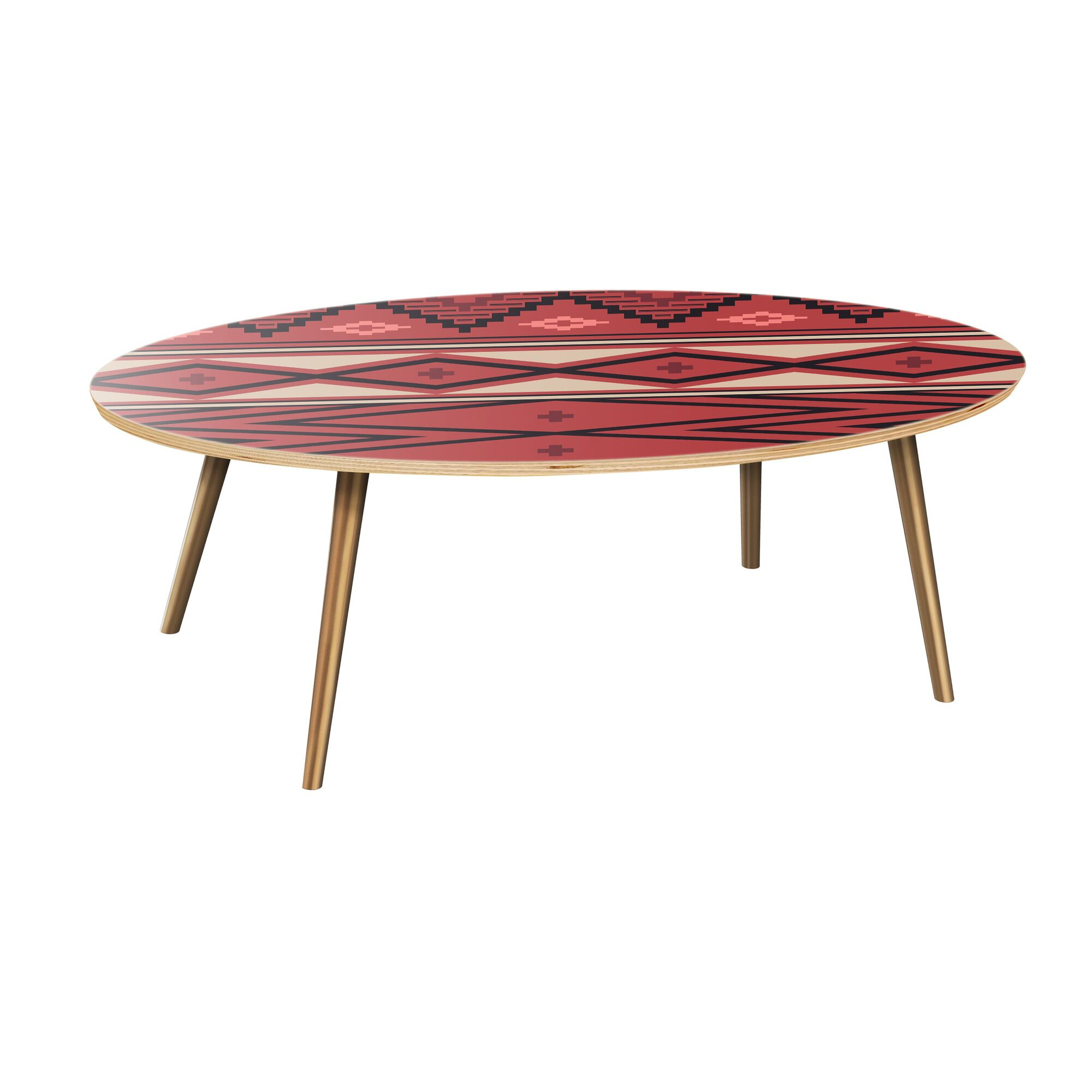 Huckins Coffee Table Table Top Boarder Color: Natural, Table Base Color: Brass, Table Top Color: Red