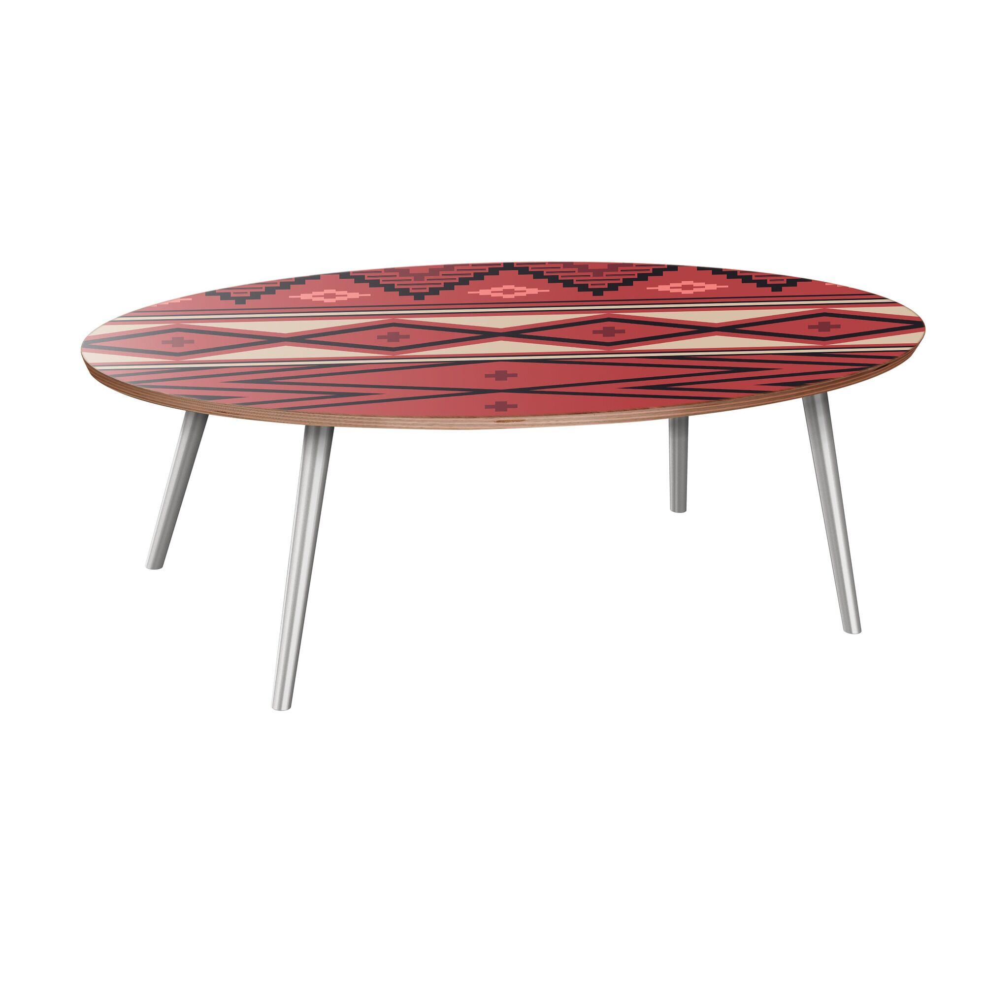 Huckins Coffee Table Table Base Color: Chrome, Table Top Boarder Color: Walnut, Table Top Color: Pink/Blue