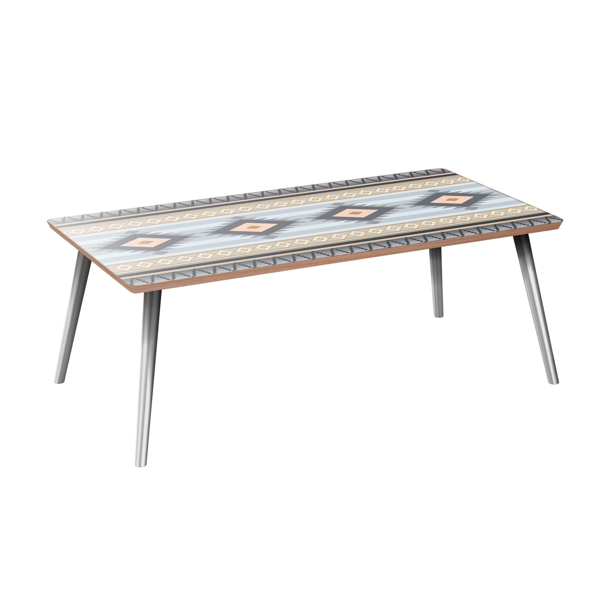 Kelford Coffee Table Table Base Color: Chrome, Table Top Color: Walnut