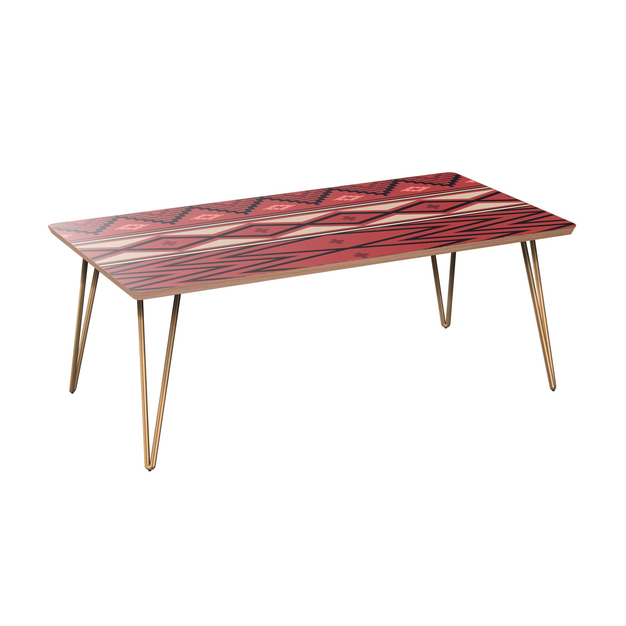 Hornung Coffee Table Table Base Color: Brass, Table Top Boarder Color: Walnut, Table Top Color: Pink/Blue