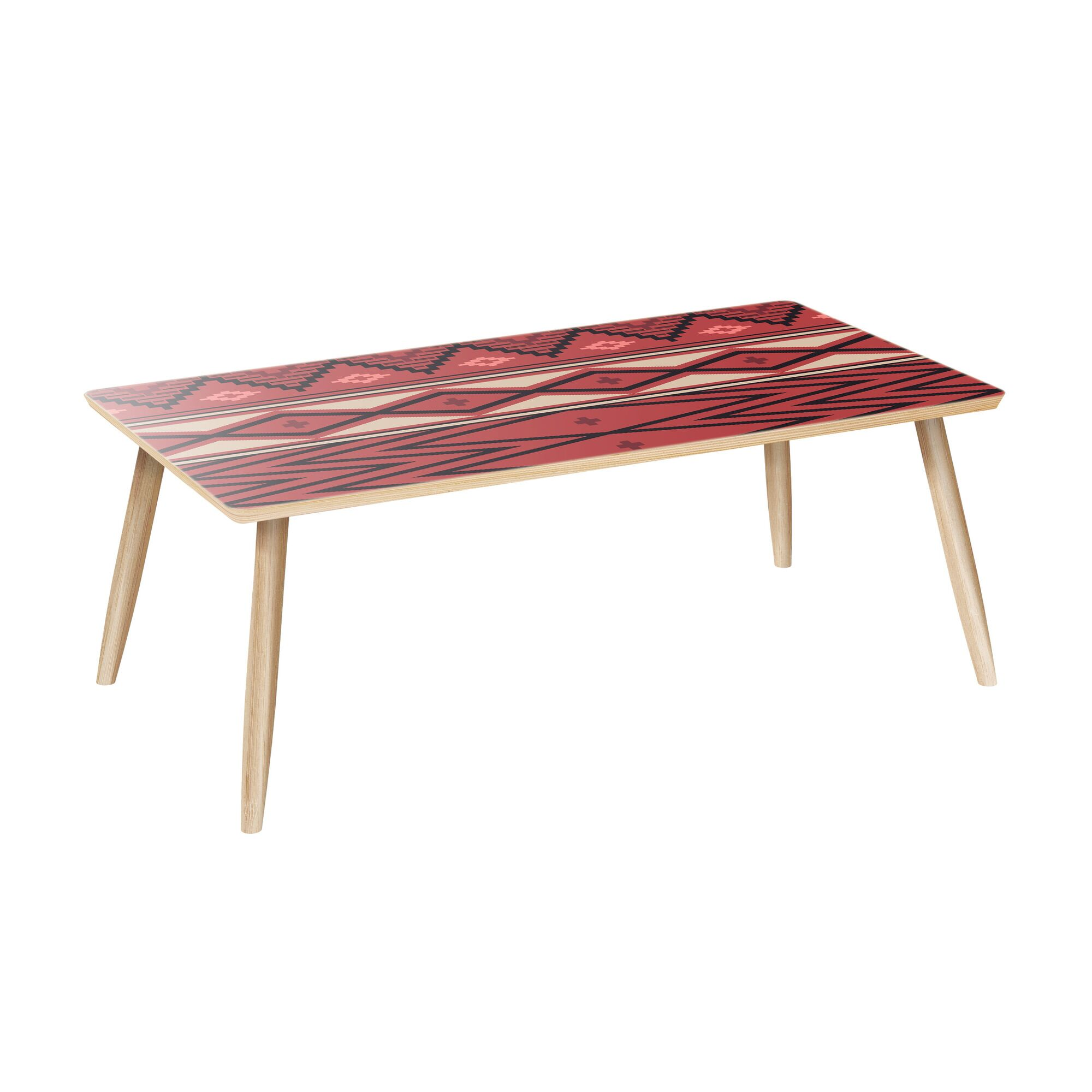 Tyndalls Park Coffee Table Table Base Color: Natural, Table Top Color: Red