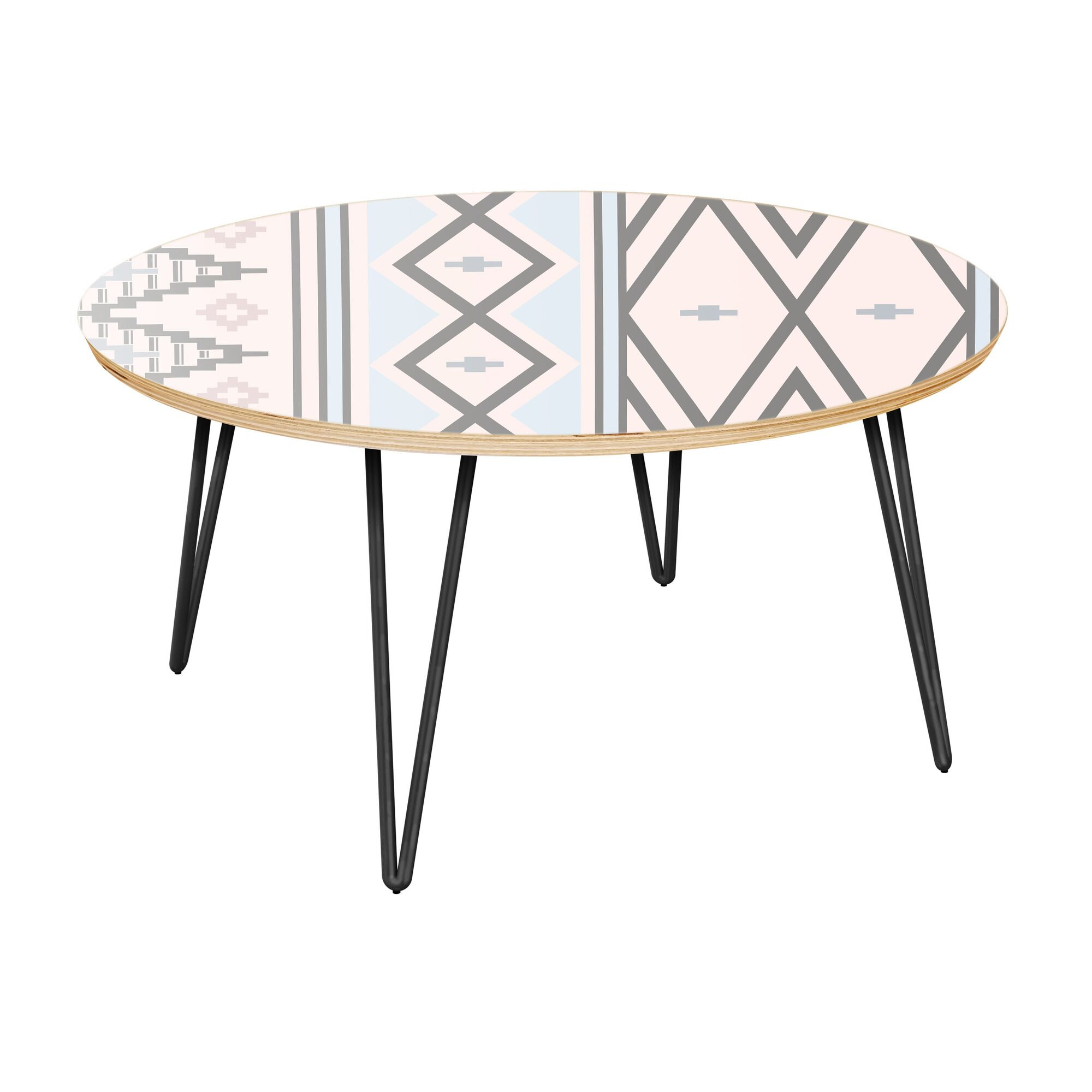 Hursey Coffee Table Table Top Boarder Color: Natural, Table Base Color: Black, Table Top Color: Pink/Blue