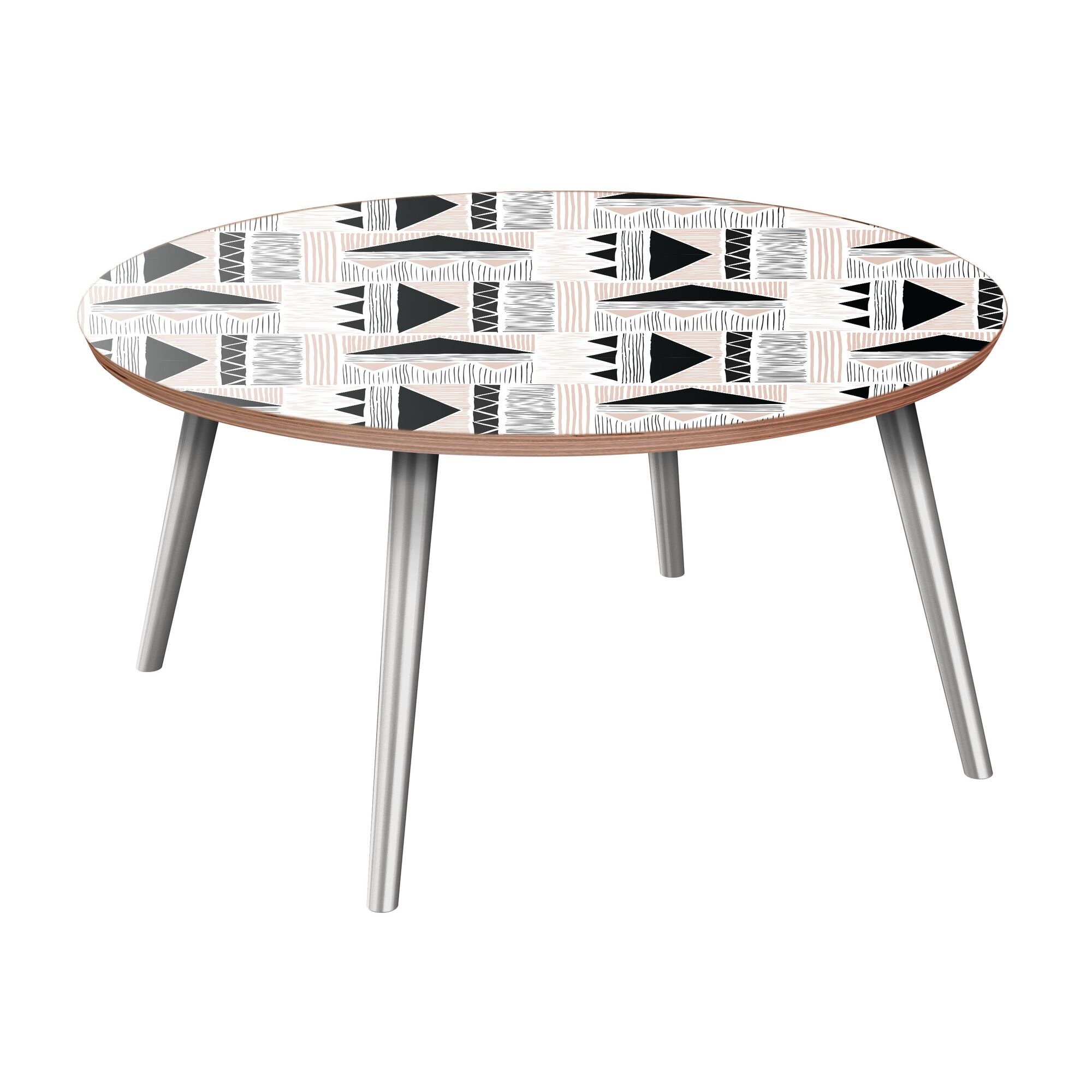 Hotwells Coffee Table Table Base Color: Chrome, Table Top Color: Walnut