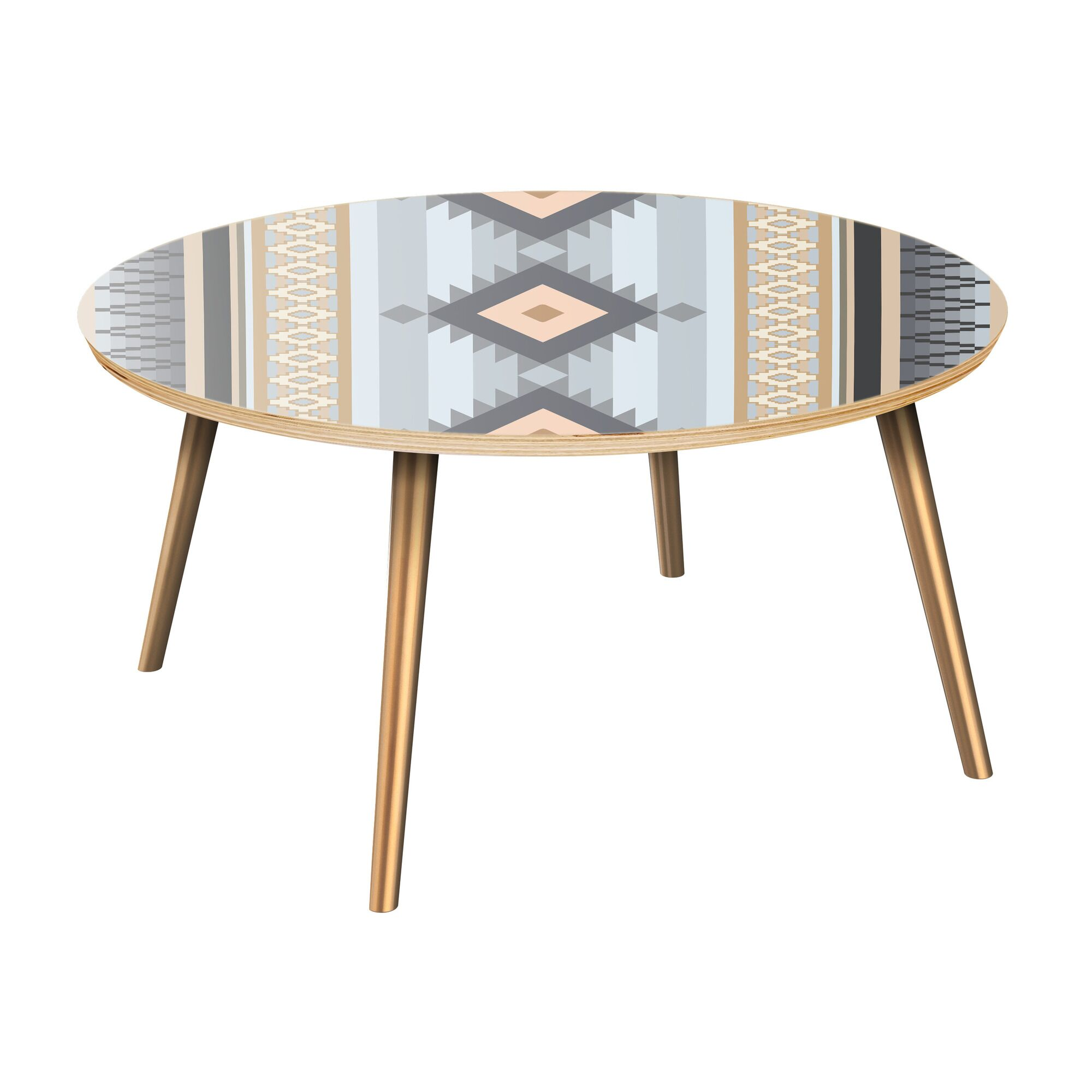Ines Coffee Table Table Top Color: Natural, Table Base Color: Brass