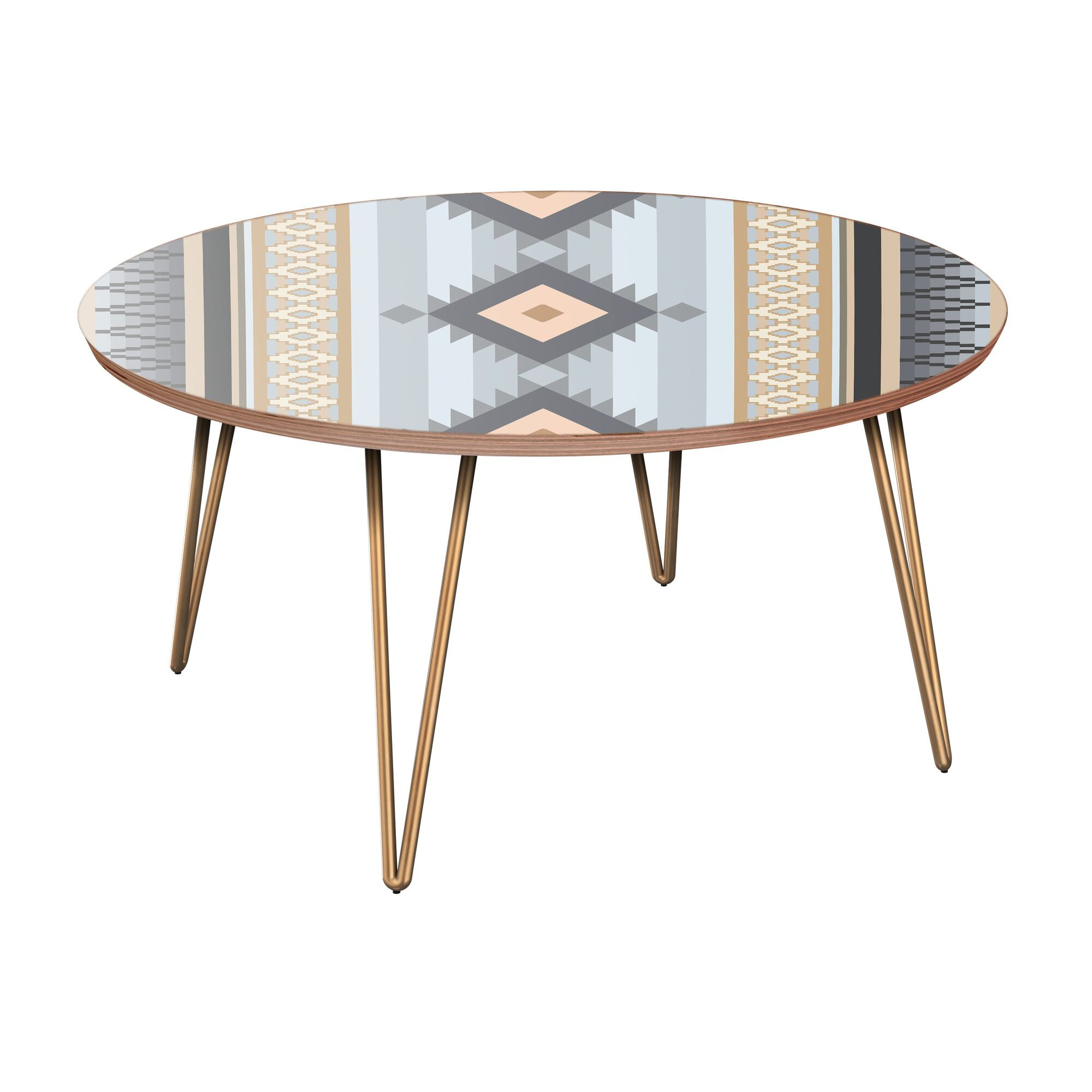 Jennette Coffee Table Table Base Color: Brass, Table Top Color: Walnut