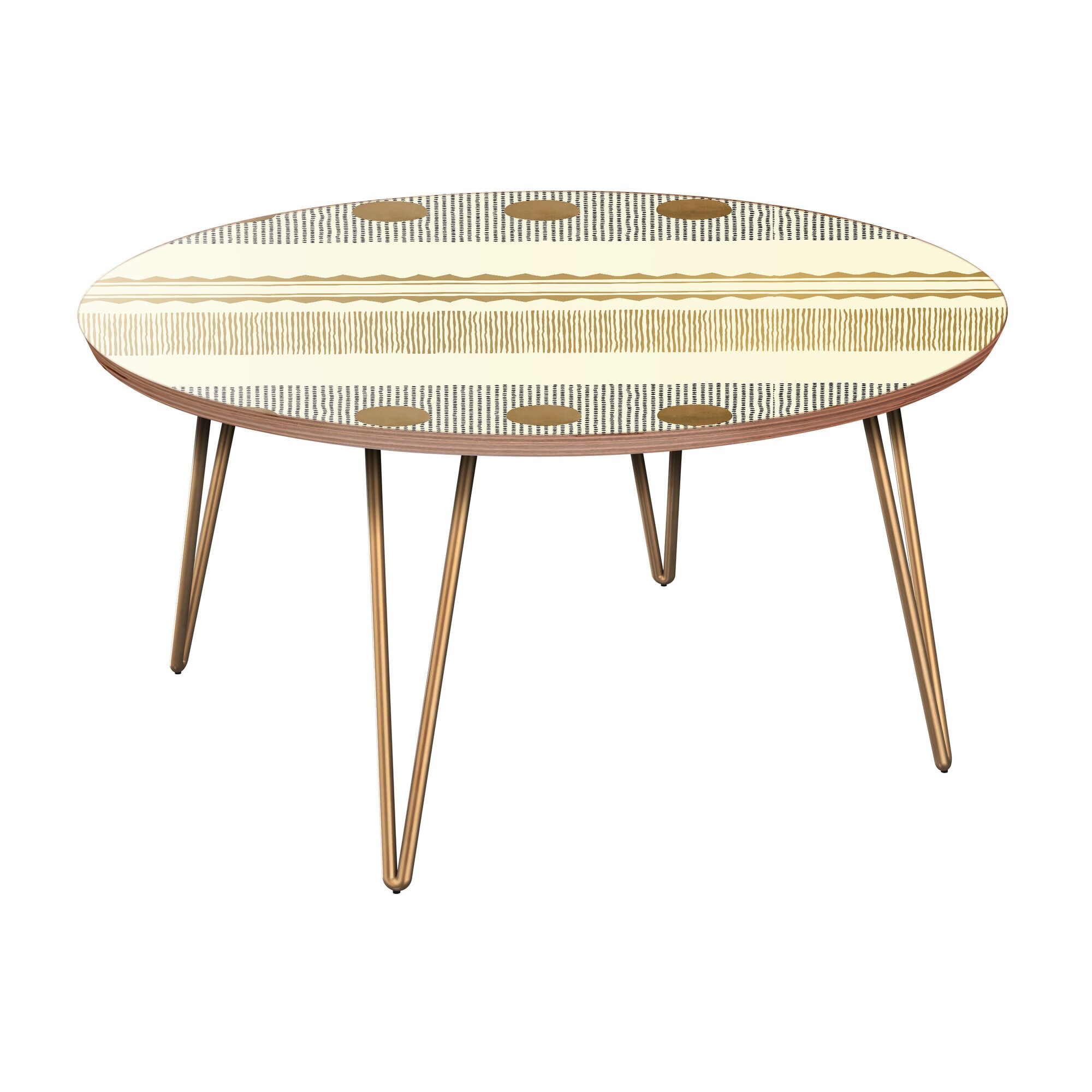 Hornbeck Coffee Table Table Base Color: Brass, Table Top Color: Walnut