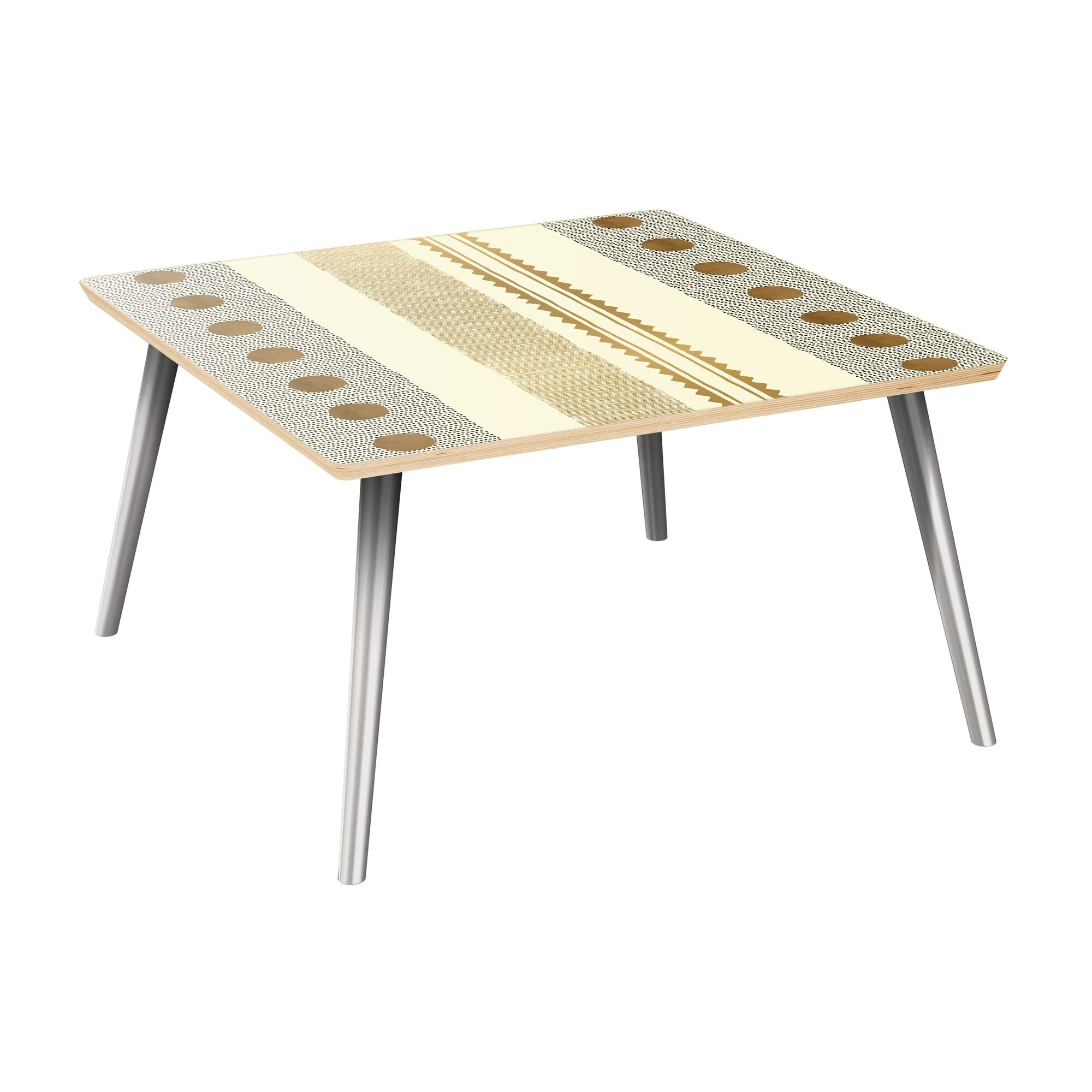 Hudkins Coffee Table Table Top Color: Natural, Table Base Color: Chrome