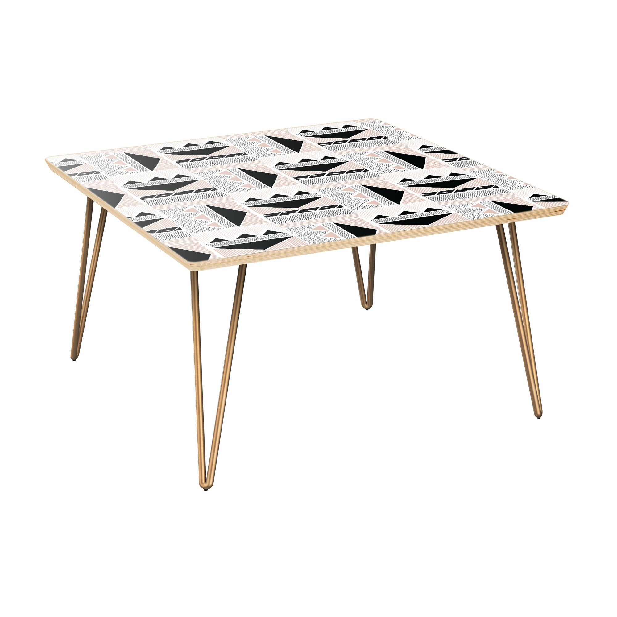 Huggard Coffee Table Table Top Color: Natural, Table Base Color: Brass
