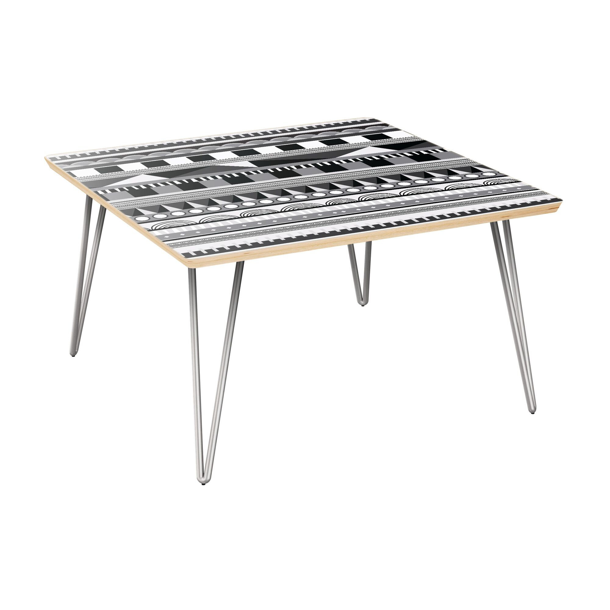 Hollenbeck Coffee Table Table Top Color: Natural, Table Base Color: Chrome