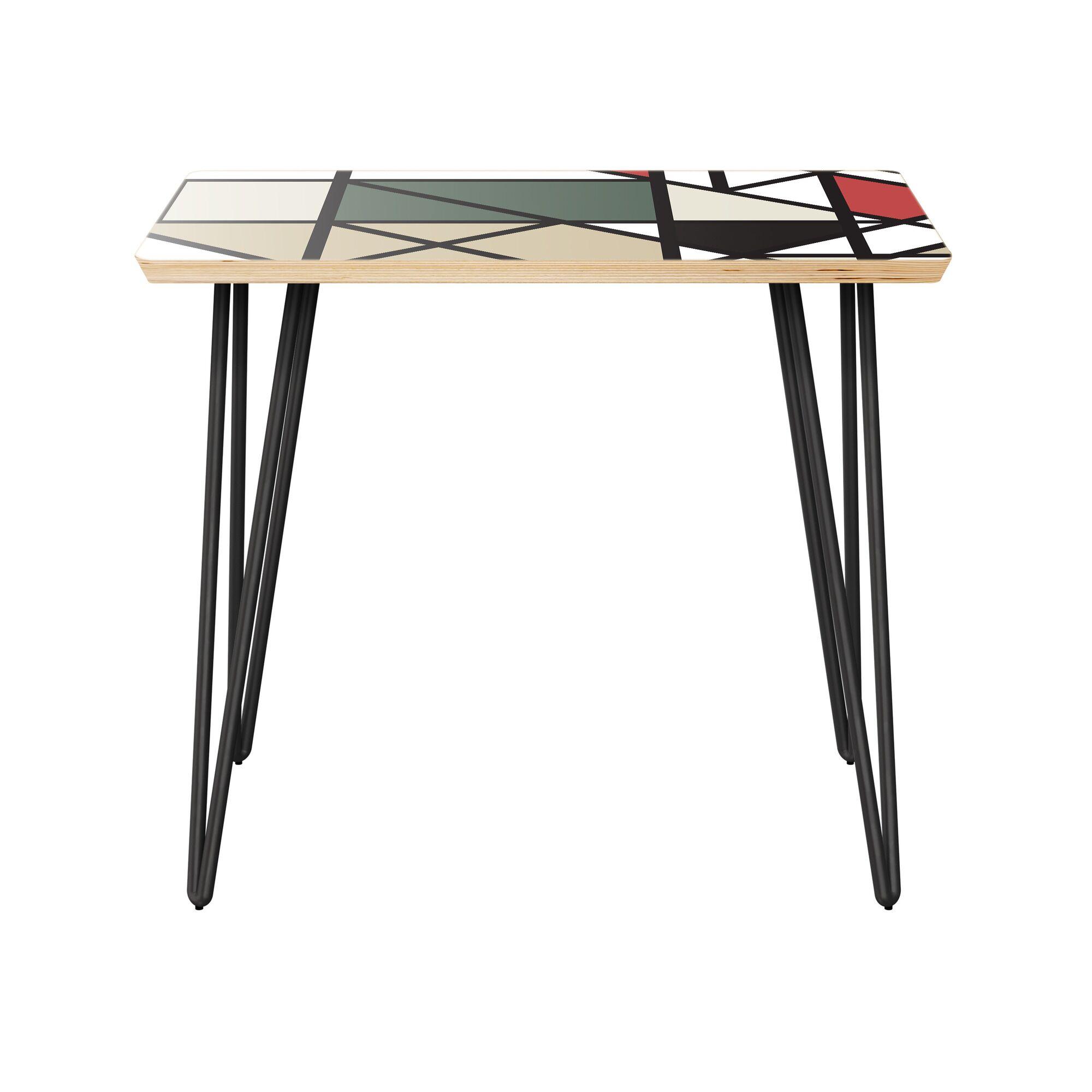 Izobel End Table Table Top Color: Natural, Table Base Color: Black