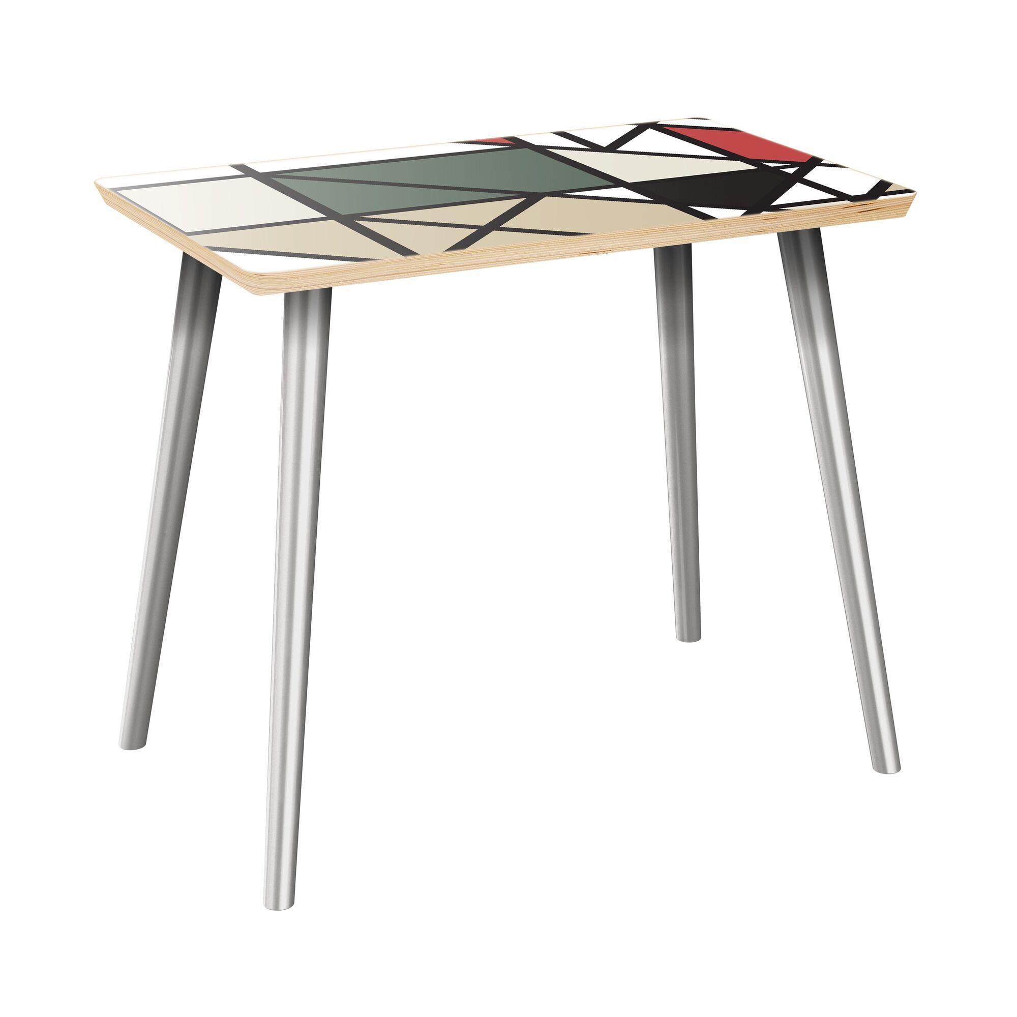 Ilasha End Table Table Top Color: Natural, Table Base Color: Chrome