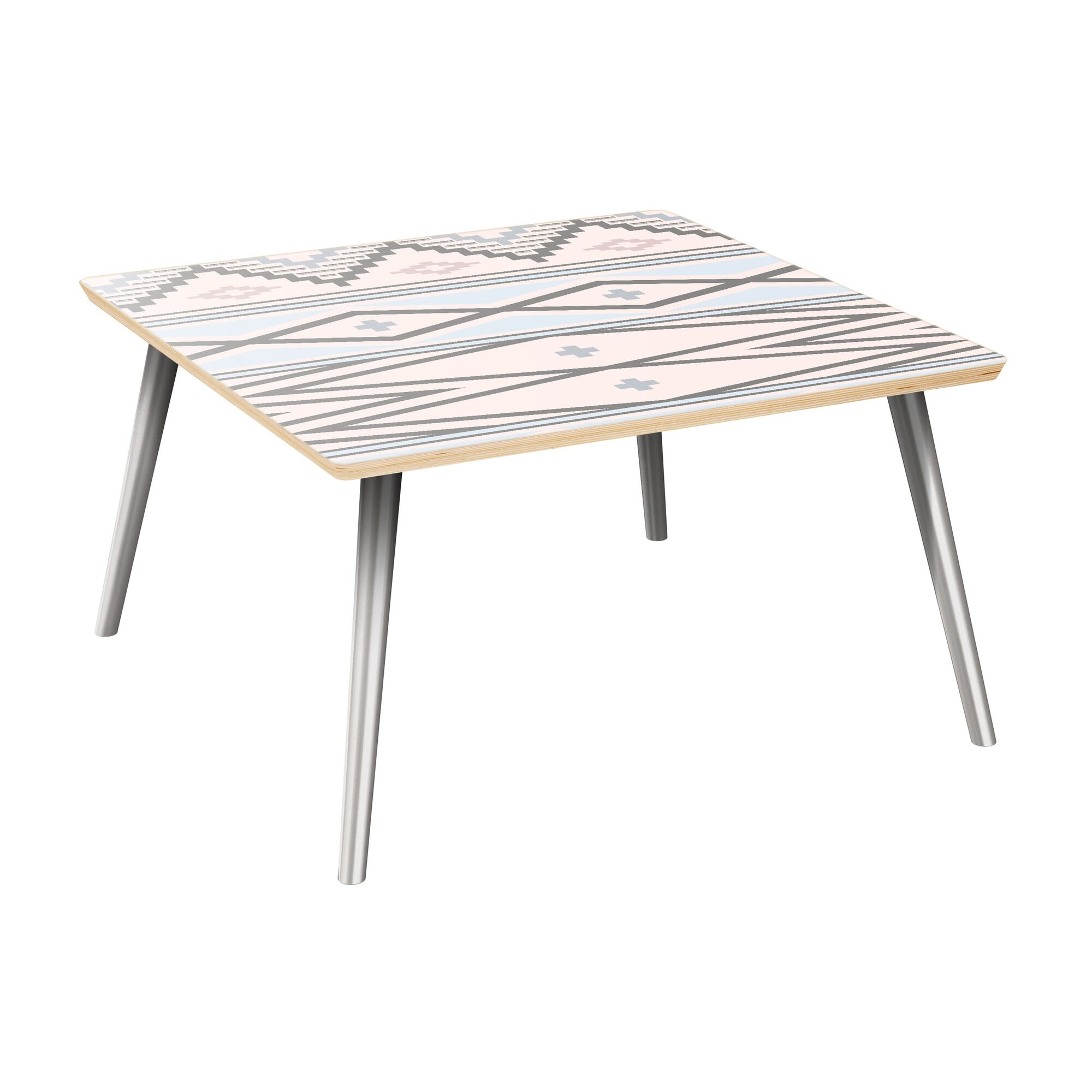 Hollymead Coffee Table Table Top Boarder Color: Natural, Table Base Color: Chrome, Table Top Color: Pink/Blue