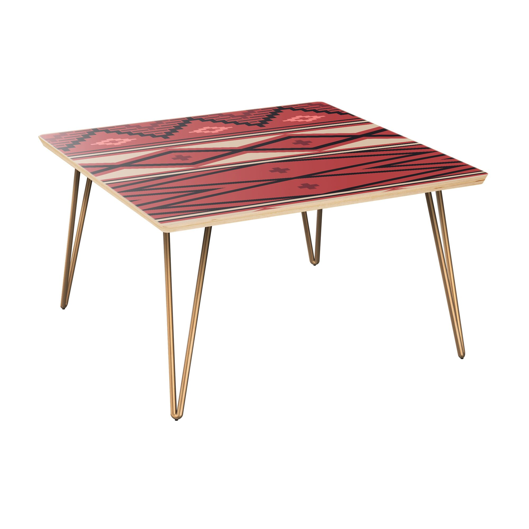 Hollowell Coffee Table Table Top Boarder Color: Natural, Table Base Color: Brass, Table Top Color: Red