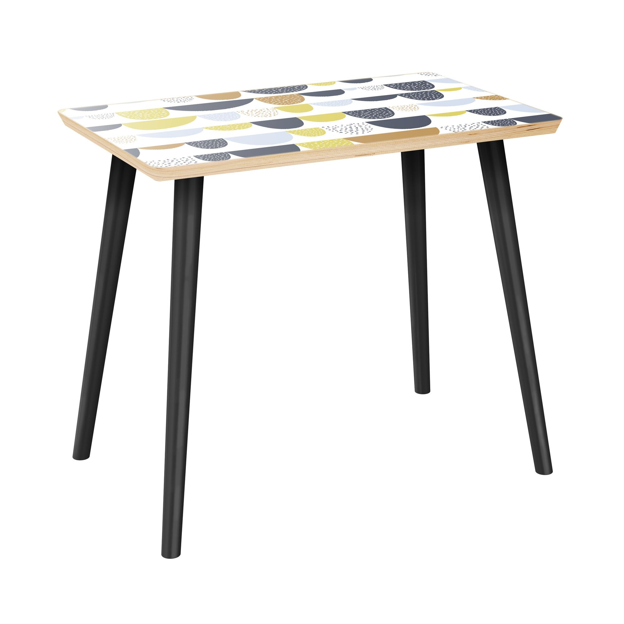 Iyana End Table Table Top Color: Natural, Table Base Color: Black