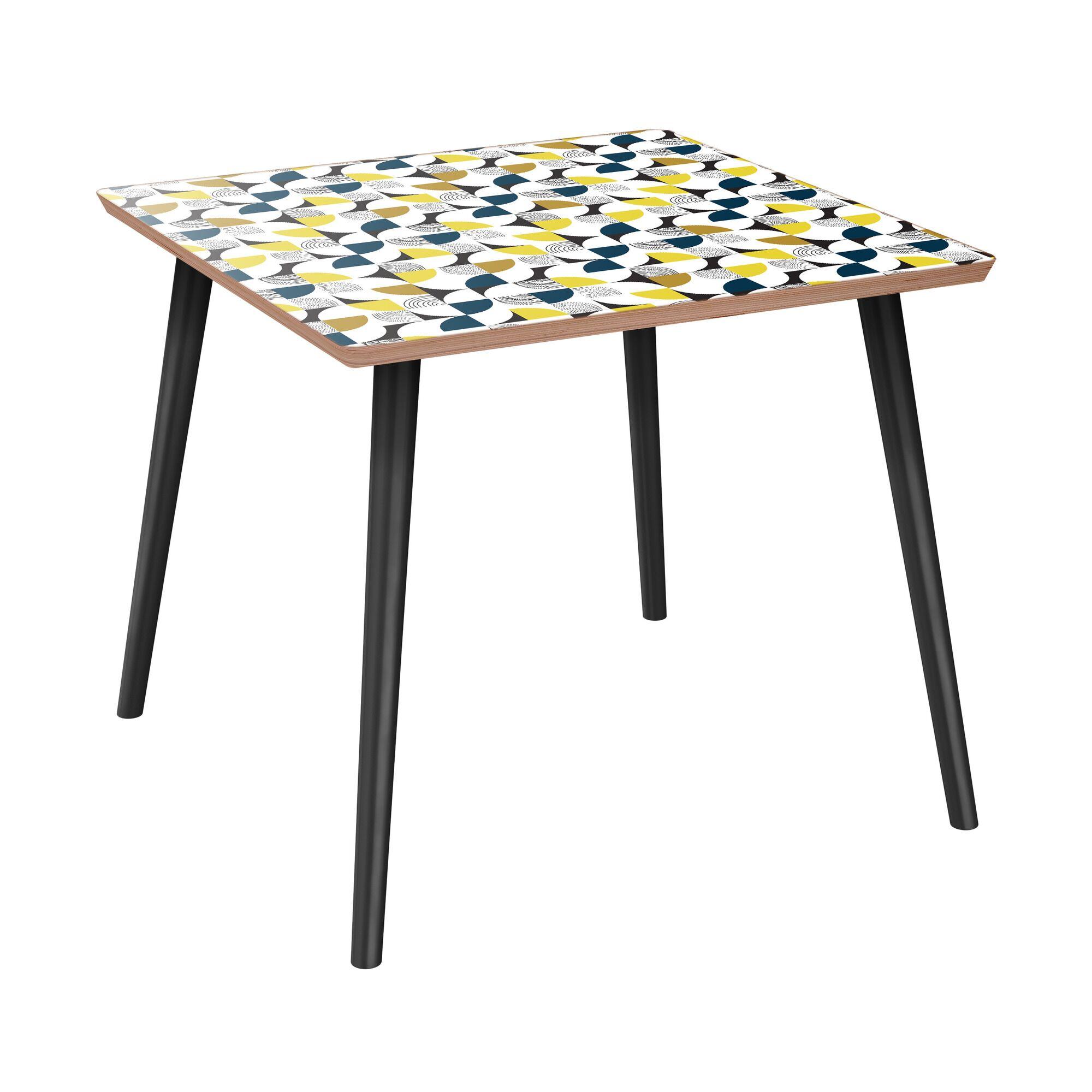Schaffner End Table Table Base Color: Black, Table Top Color: Walnut