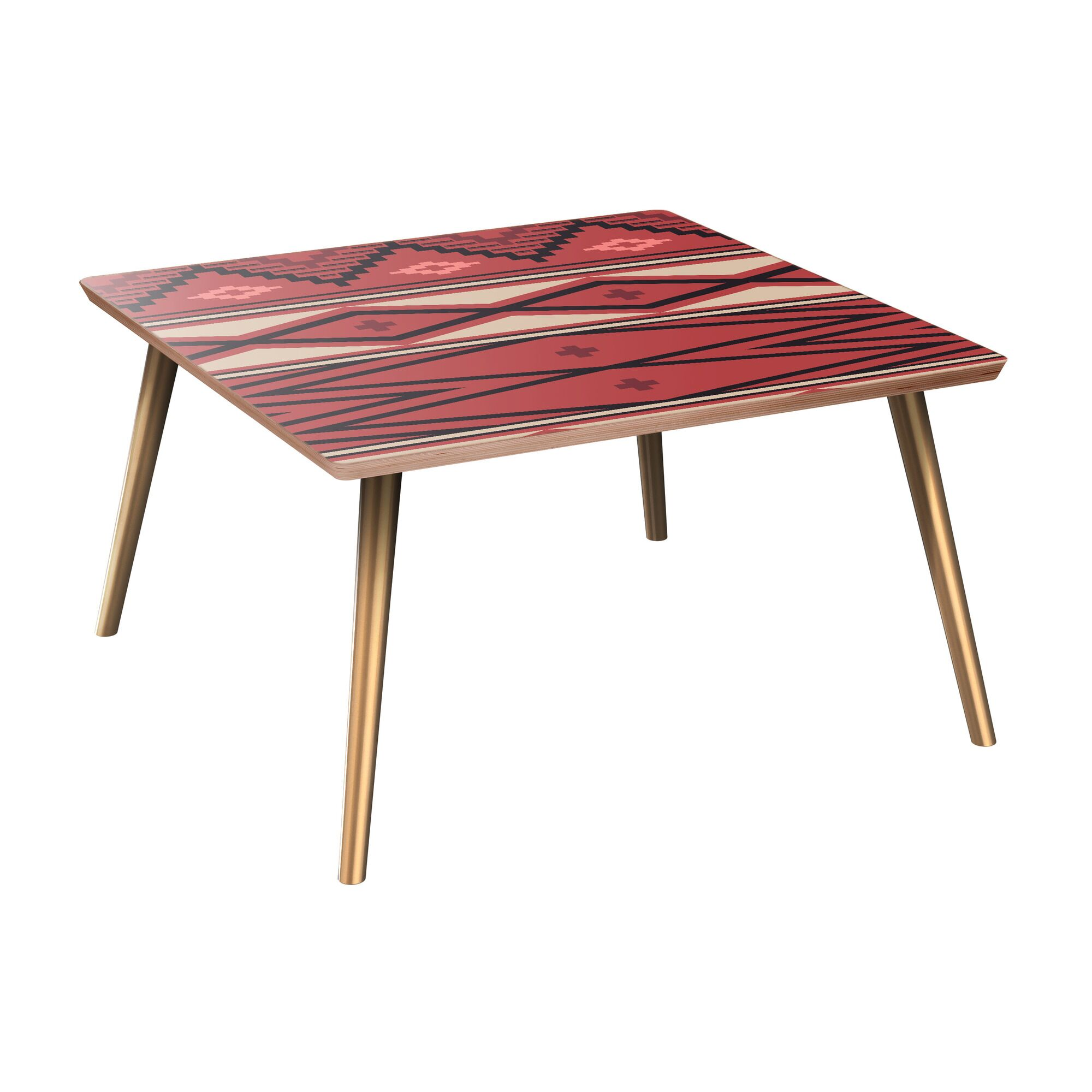 Hollymead Coffee Table Table Base Color: Brass, Table Top Boarder Color: Walnut, Table Top Color: Pink/Blue