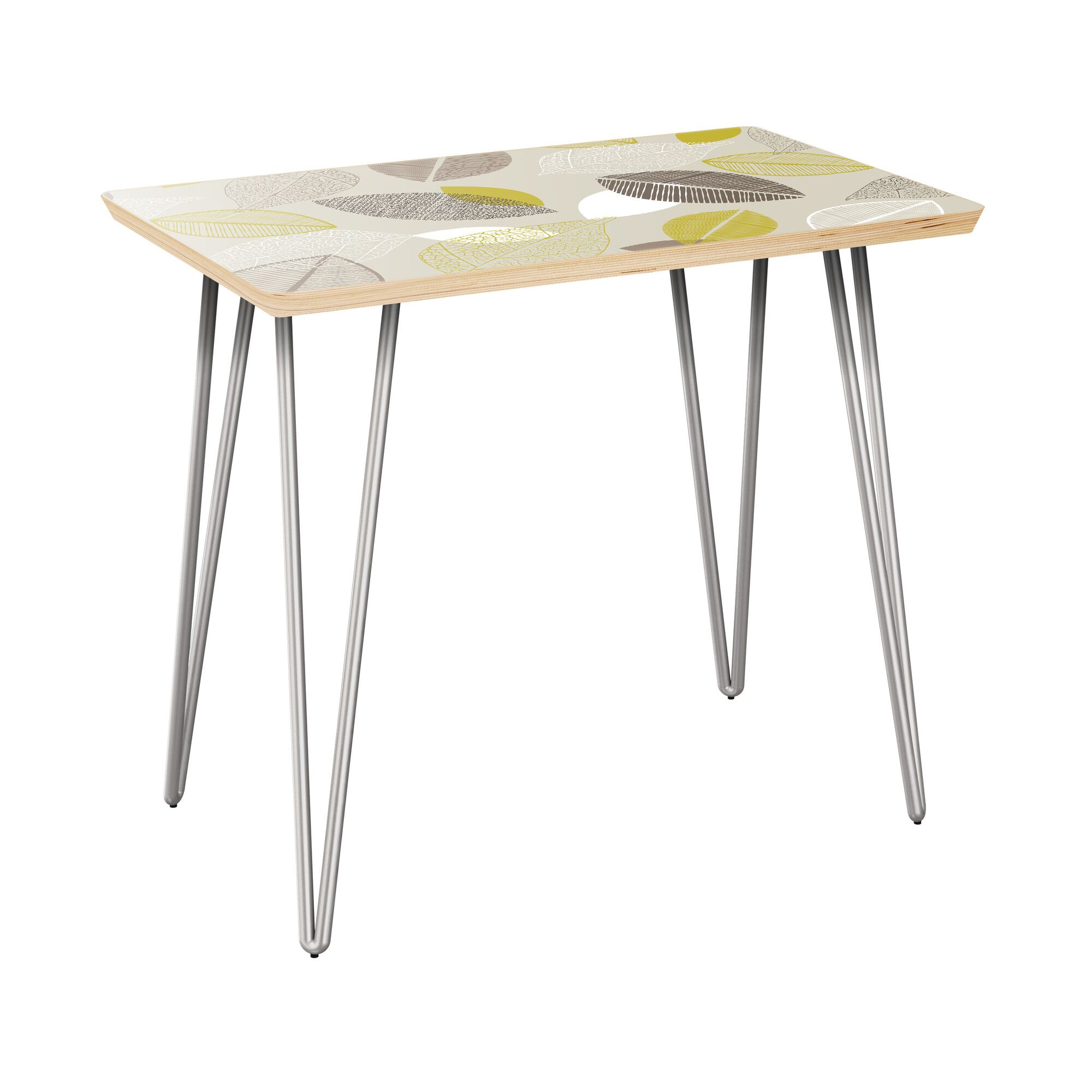 Jazmyne End Table Table Top Boarder Color: Walnut, Table Base Color: Chrome, Table Top Color: Pink