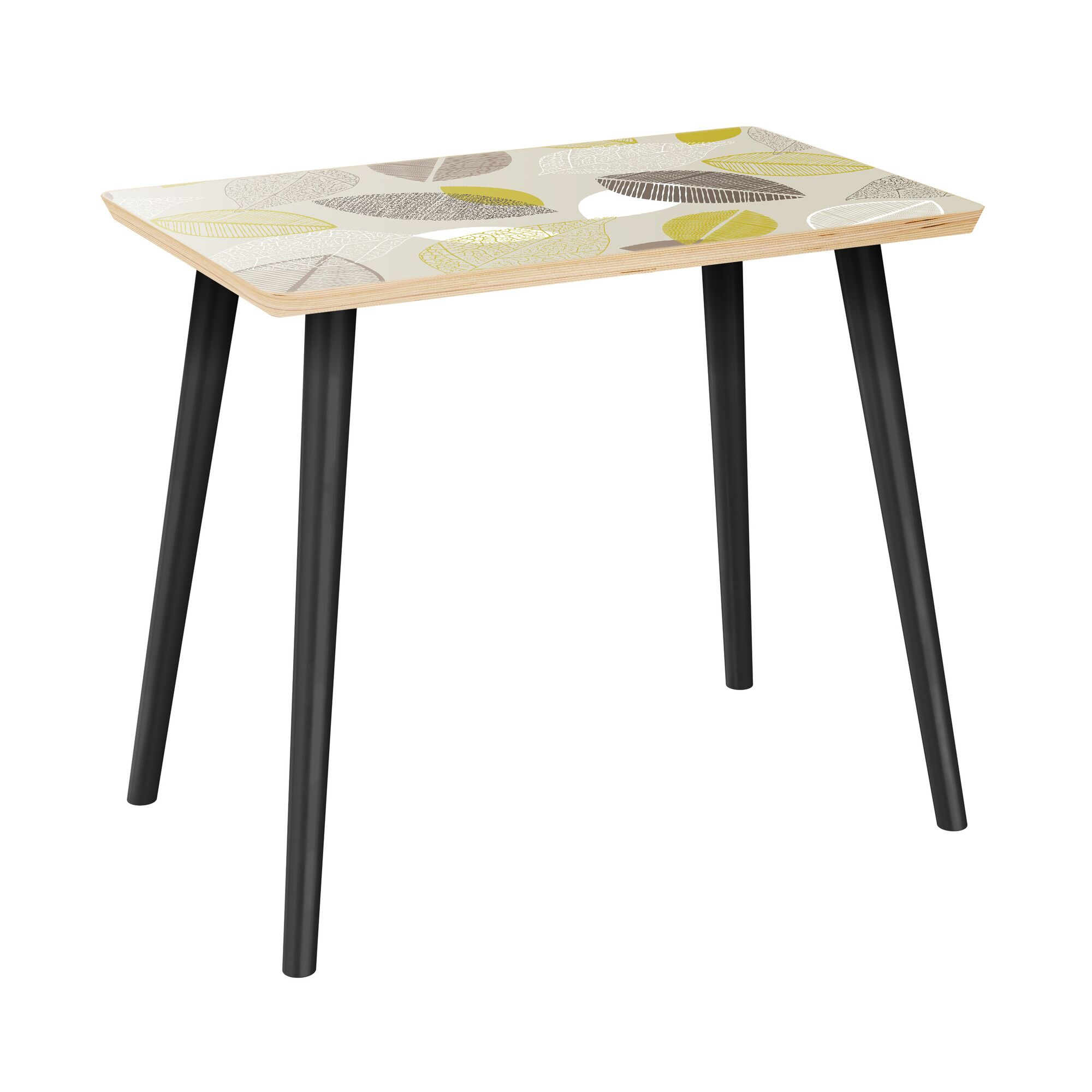Jeana End Table Table Top Boarder Color: Natural, Table Base Color: Black, Table Top Color: Pink