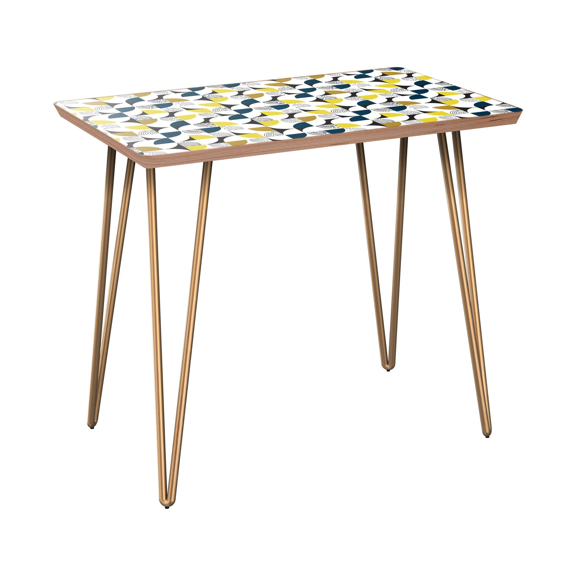 Ilbert End Table Table Base Color: Brass, Table Top Color: Walnut